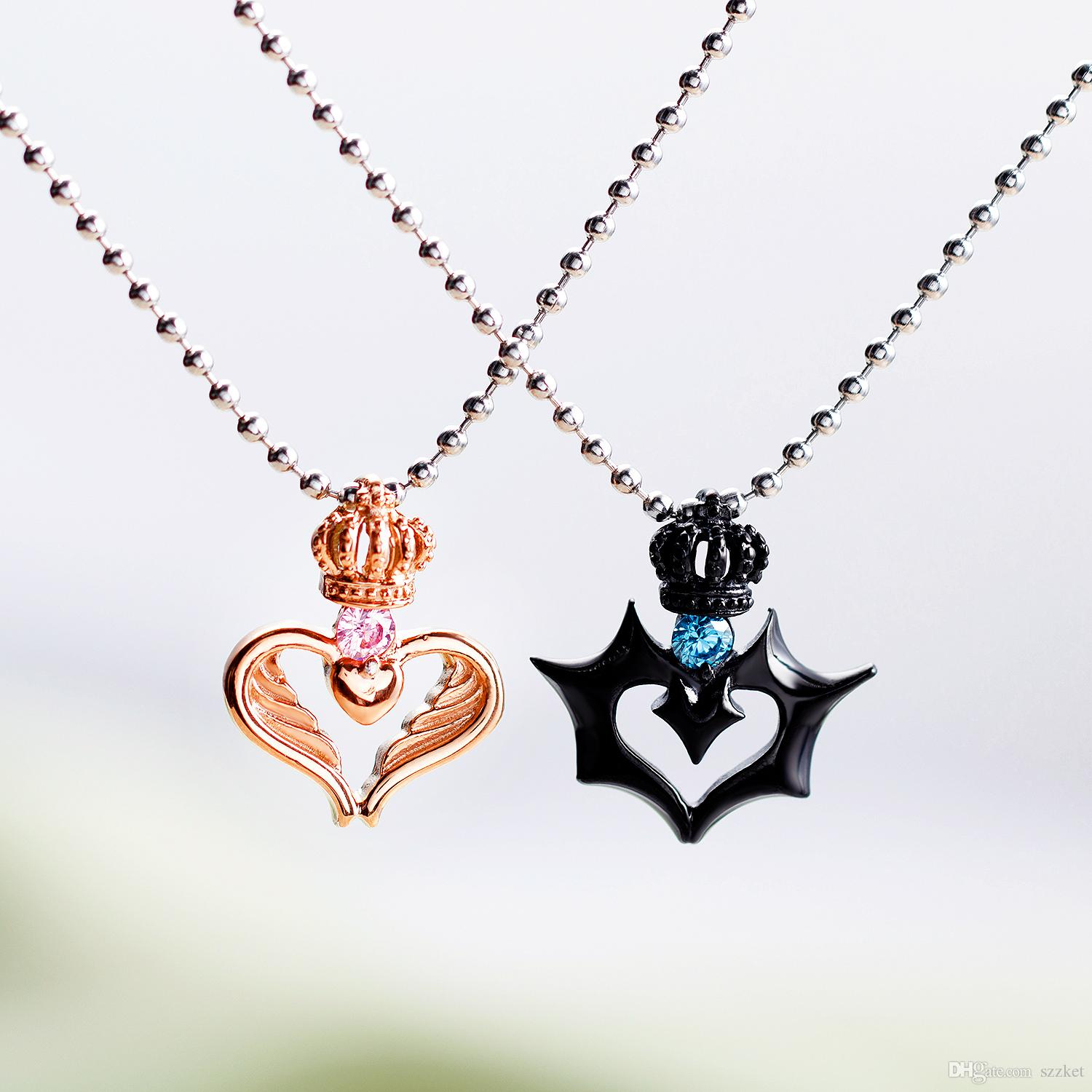 Couple Necklace Romantic Heart Pendant Necklace Women Men Couple Jewelry Black Rose Gold Crown Stainless Steel Zircon Chain Necklace Inside Most Recent Joined Hearts Chain Necklaces (View 15 of 25)