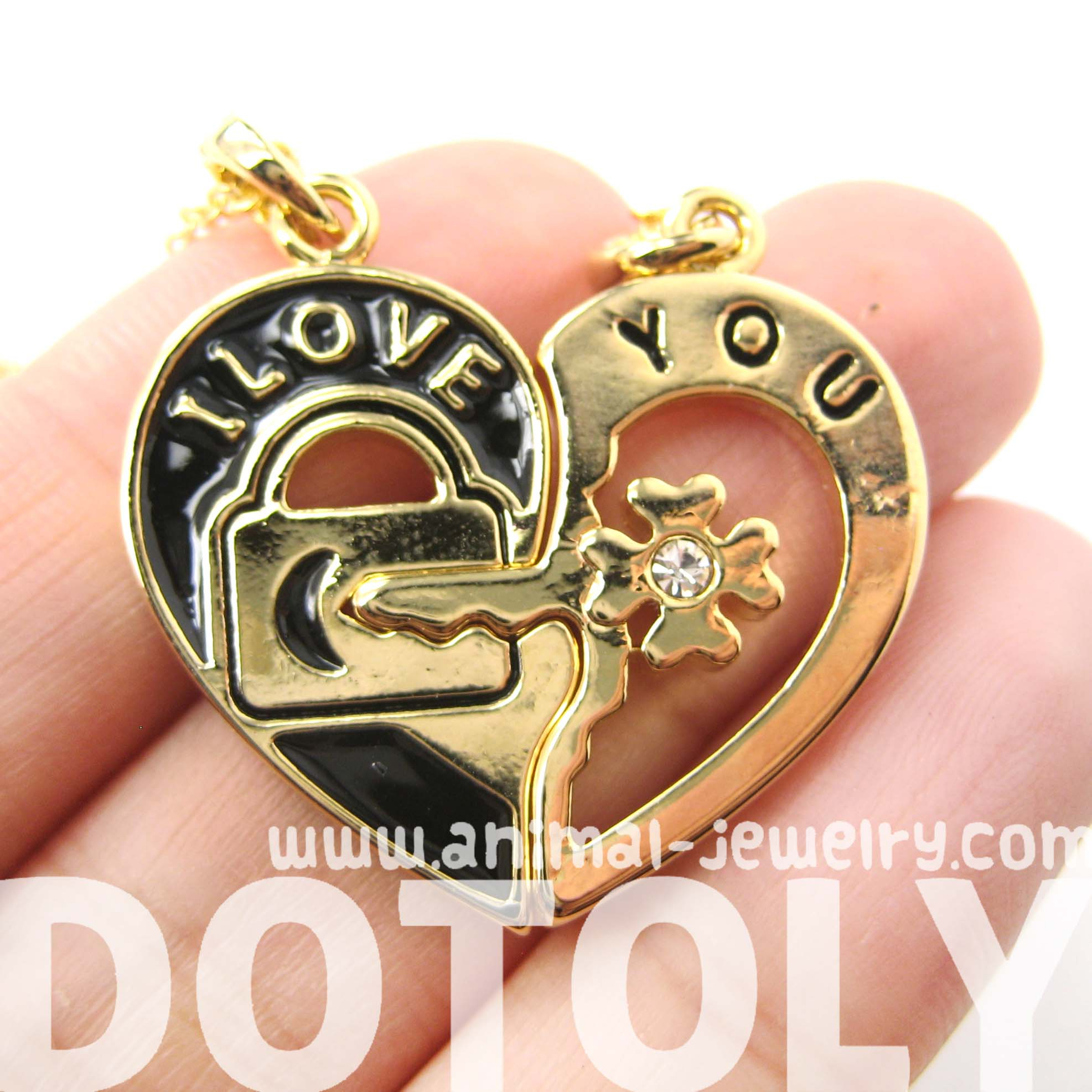 """Couples 2 Piece Heart Shaped """"i Love You"""" Lock And Key Pendant Necklace Solddotoly Animal Jewelry With Best And Newest Heart Shaped Padlock Necklaces (View 24 of 25)"""