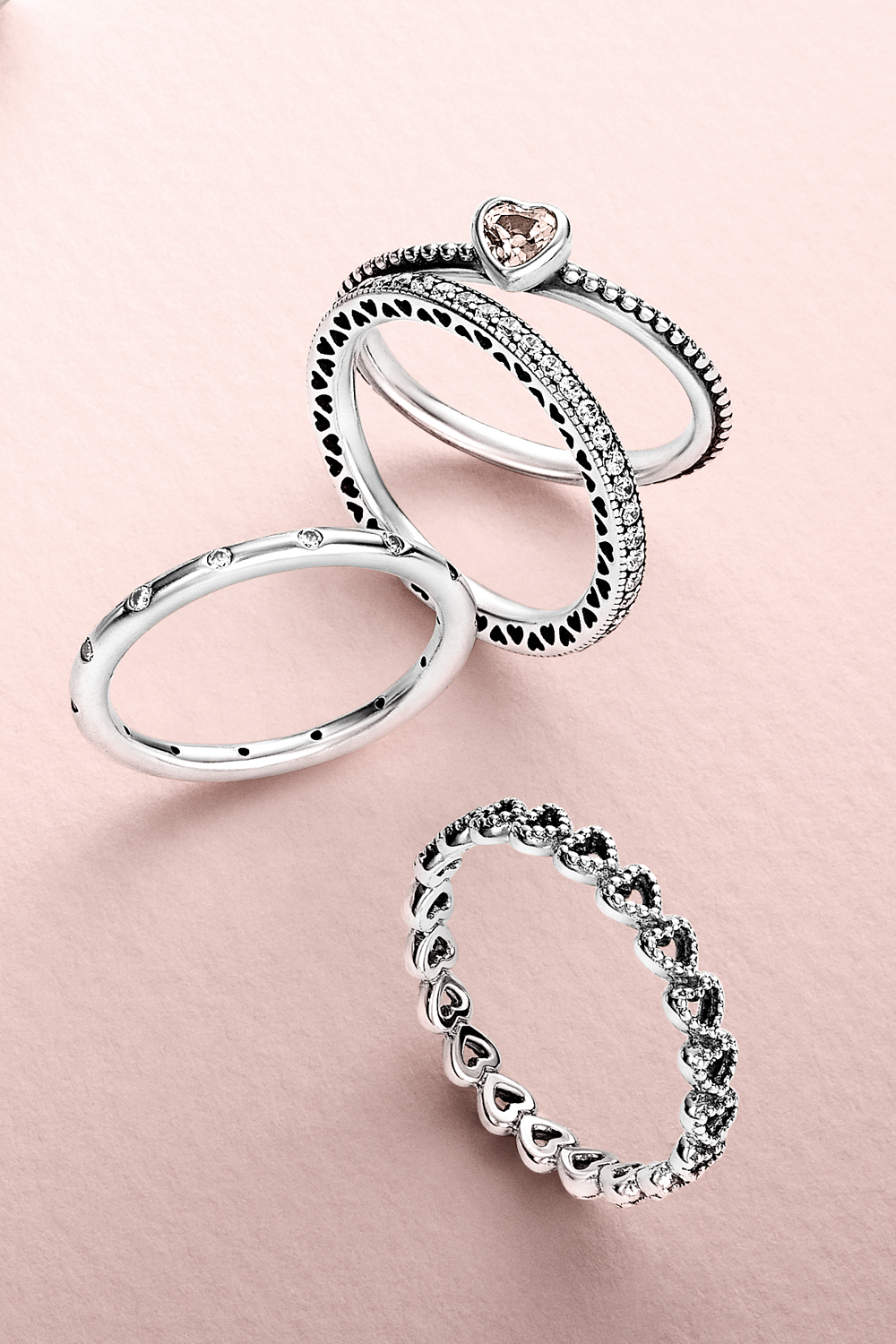 Create A Romantic Lookstacking Cute Heart Shaped Rings. #pandora With Regard To 2017 Heart Shaped Pandora Logo Rings (Gallery 14 of 25)