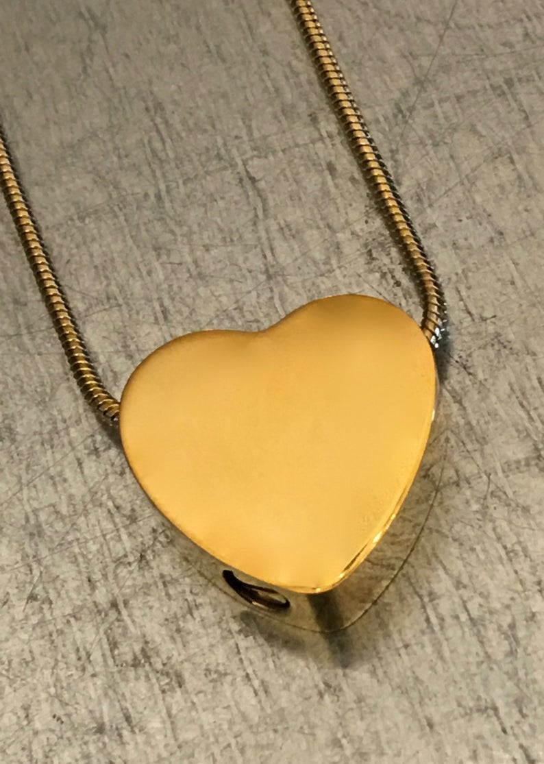 Cremation Necklace, Heart Urn, Gold Plate Urn Locket, Ashes Holder  Necklace, Cremation Locket, Memory Locket, Cremation Jewelry With 2020 Heart Locket Plate Necklaces (View 4 of 25)