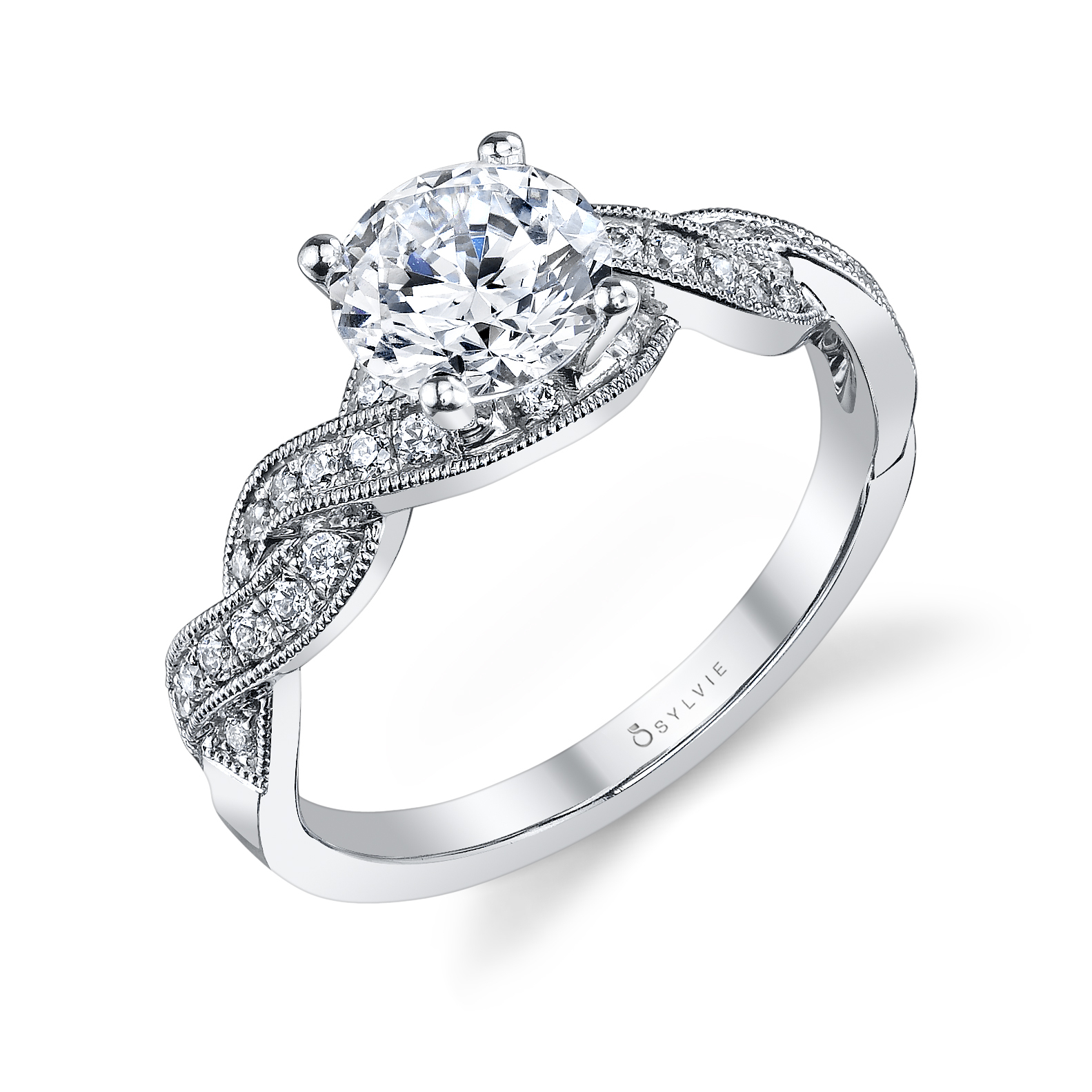 Criss Cross Shank Round Diamond Engagement Ring: Sylvie Collection For Most Up To Date Princess Cut Diamond Criss Cross Anniversary Bands In White Gold (View 9 of 25)