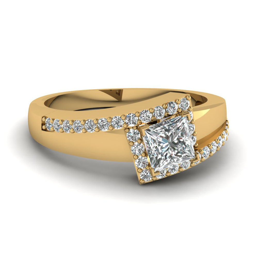 Crossover Princess Cut Halo Ring With Newest Certified Princess Cut Diamond Anniversary Bands In White Gold (View 3 of 25)