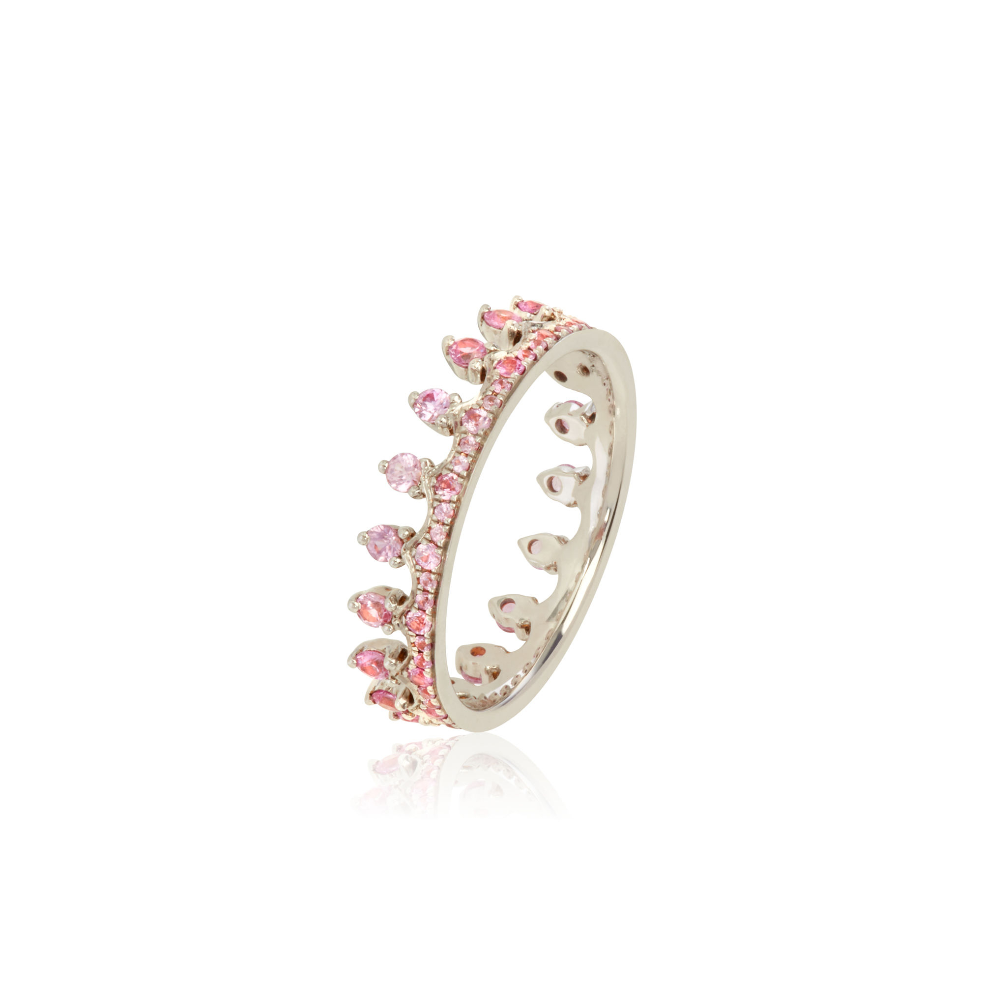Crown 18ct White Gold Pink Sapphire Ring With Regard To Latest Pink Sparkling Crown Rings (View 5 of 25)
