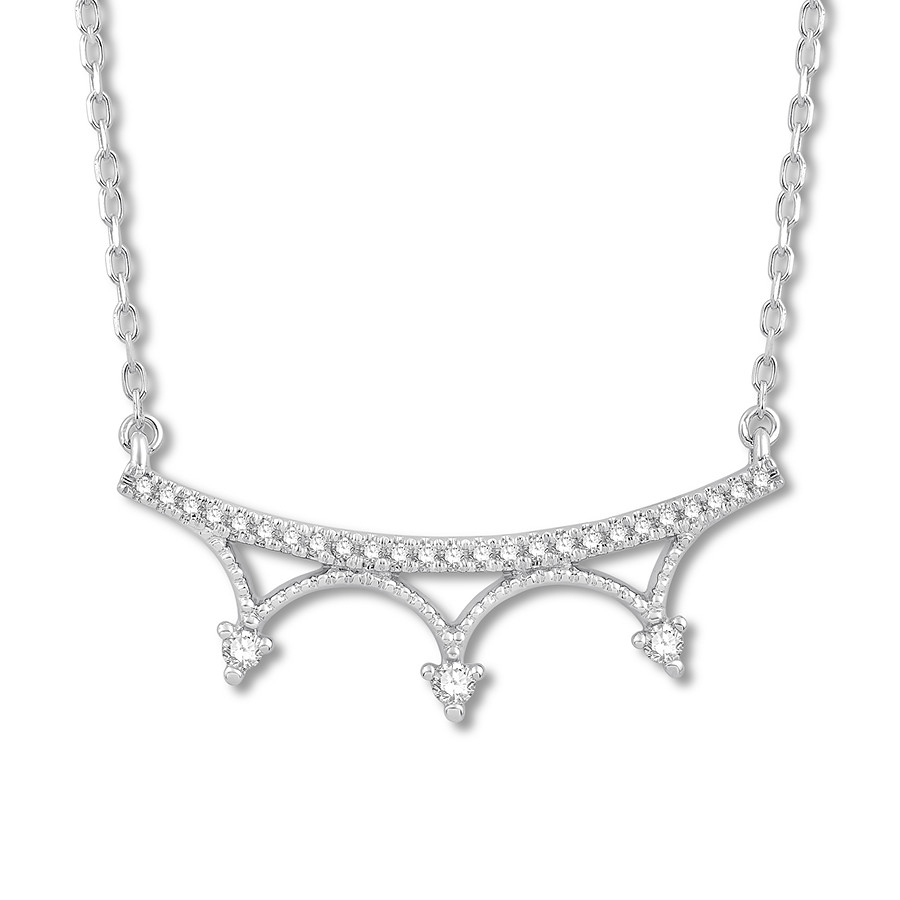 Crown Bar Necklace 1/6 Ct Tw Diamonds 14k White Gold With Most Up To Date Sparkling Curved Bar Necklaces (View 13 of 25)