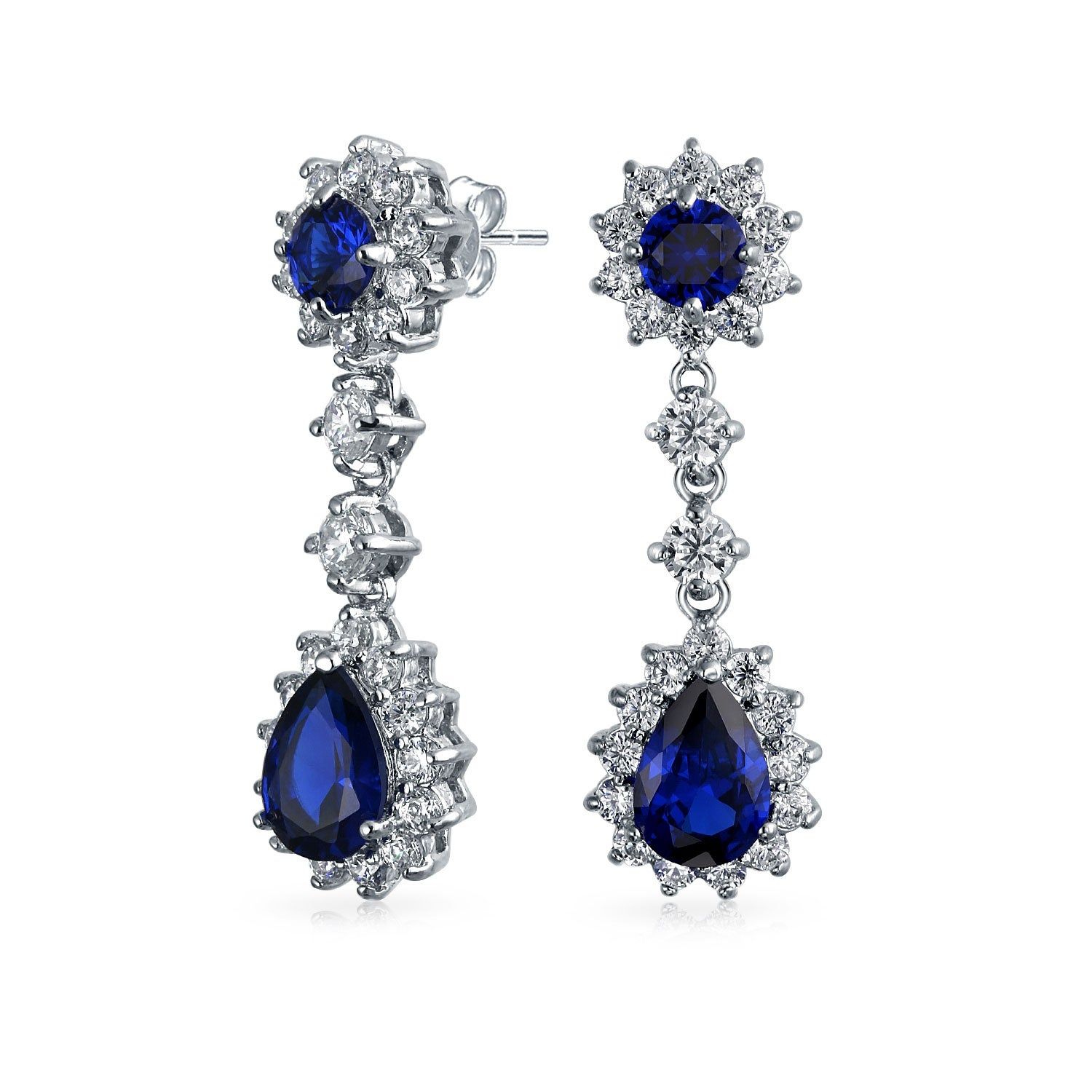 Crown Halo Royal Blue Cubic Zirconia Pear Shaped Teardrop Chandelier Earrings Cz Imitation Sapphire Silver Plated Brass With Regard To Current Sparkling Teardrop Chandelier Pendant Necklaces (View 17 of 25)