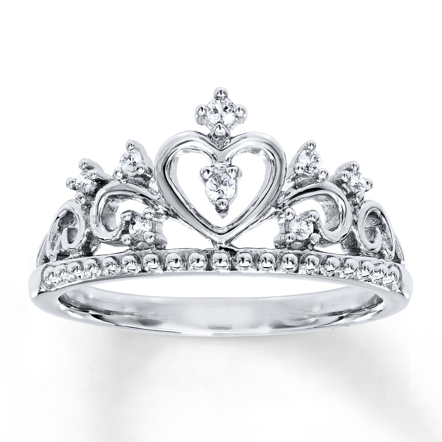Crown Ring Lab Created White Sapphires Sterling Silver Pertaining To Latest Princess Tiara Crown Rings (View 6 of 25)