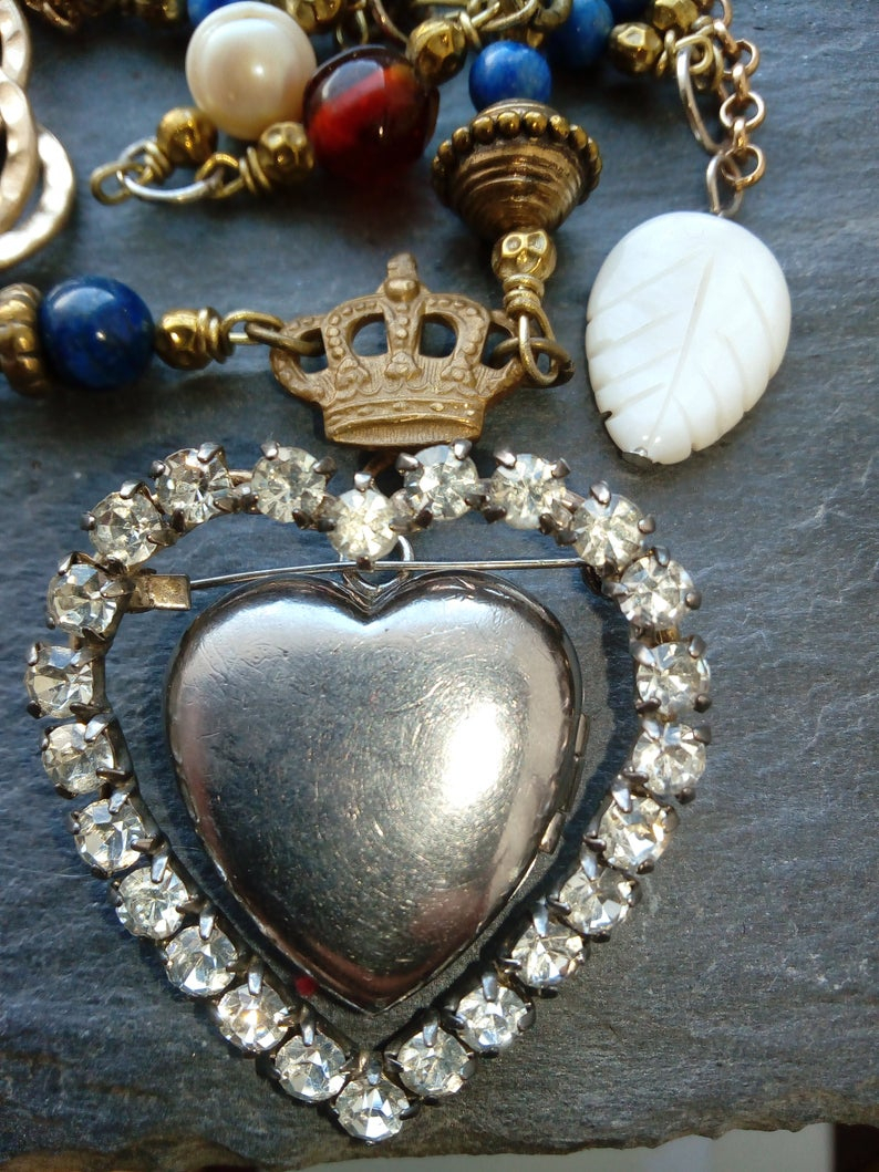 Crowned Heart, Assemblage Necklace, Locket, Upcycled Vintage, Repurposed Jewelry, Cherub, Romantic, Sentimental, Pearl, Vintage Statement, For Most Popular Heart Padlock Locket Element Necklaces (View 17 of 25)