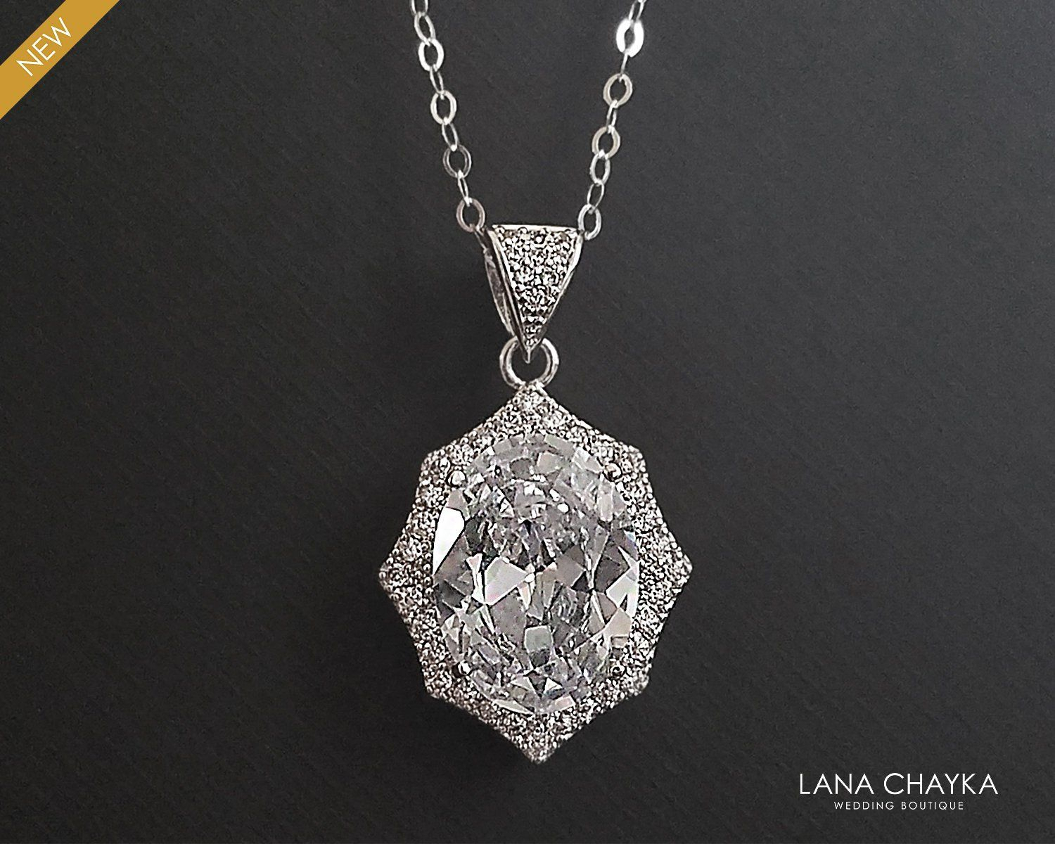 Crystal Bridal Necklace, Cubic Zirconia Oval Necklace, Crystal Halo Regarding Latest Oval Sparkle Halo Pendant Necklaces (View 6 of 25)