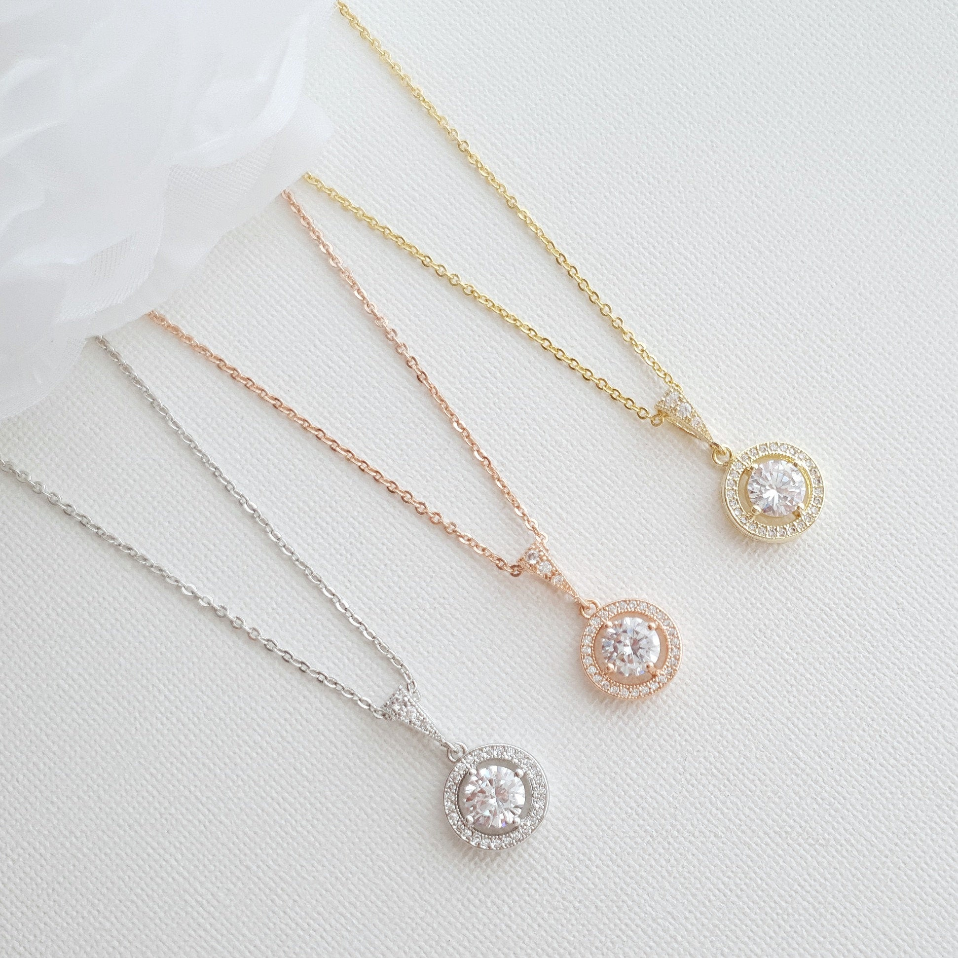 Crystal Bridal Pendant, Round Halo Wedding Pendant Necklace, Rose Gold Bridesmaid Necklace, Small Gold Pendant For Brides, Denise Throughout Most Popular Round Sparkle Halo Necklaces (View 18 of 25)