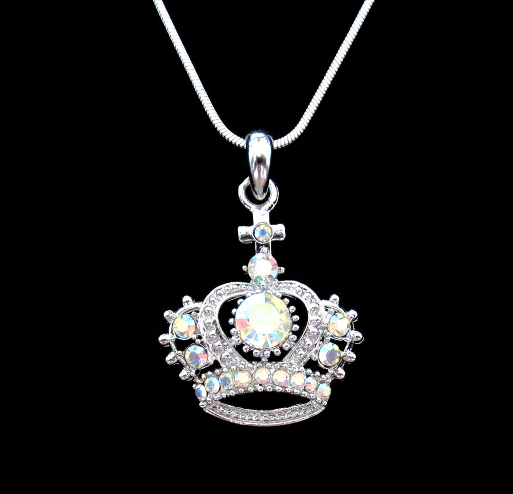 Crystal Crown Tiara Royal Princess King Queen Pendant Charm Necklace Silver Tone | Ebay For Most Up To Date Tiara Crown Collier Necklaces (View 4 of 25)