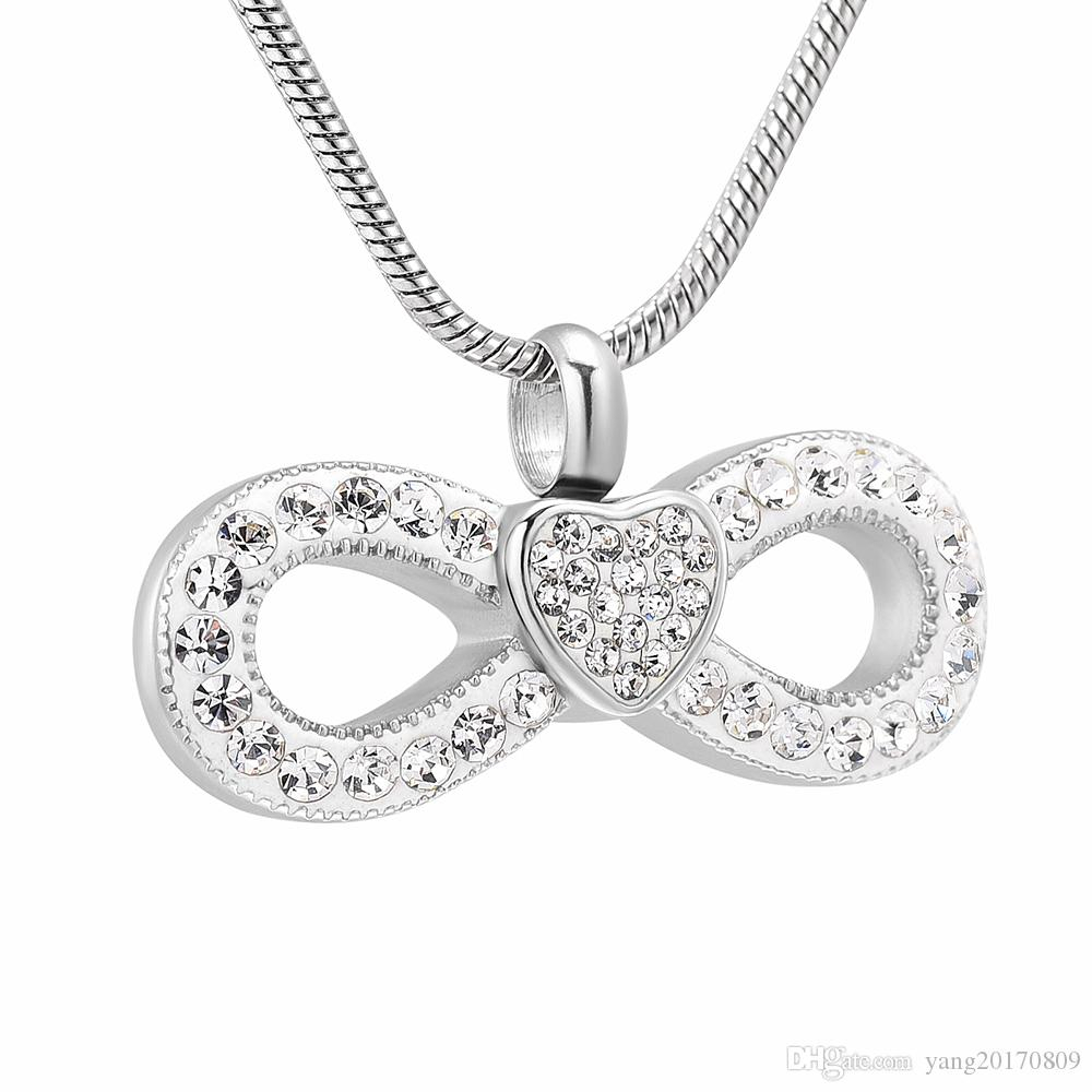 Crystal Heart Bow Knot Cremation Pendant High Quality Keepsake Necklace Ashes Urn For Pet/human Memorial Women Jewelry Ijd10056 For Most Recently Released Ice Crystal Heart Collier Necklaces (View 7 of 25)