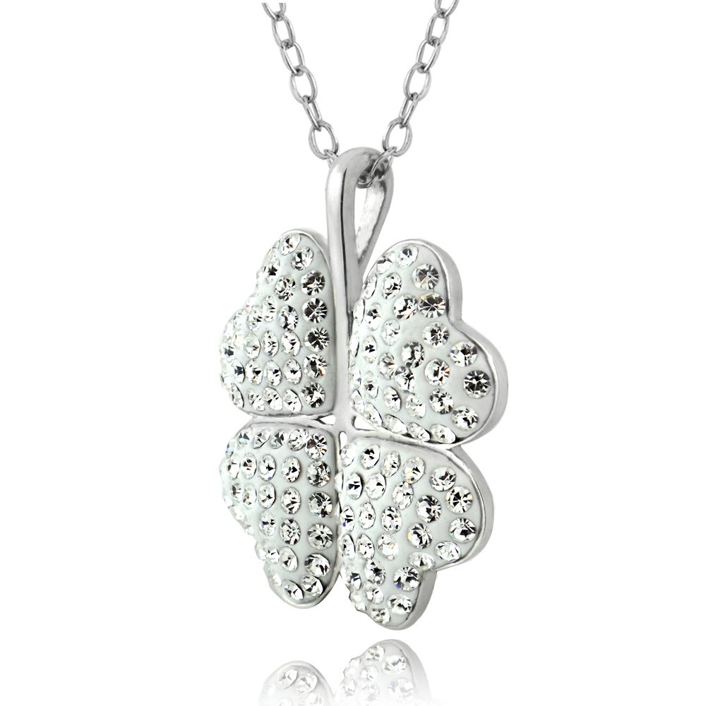 Crystal Ice Silvertone Four Leaf Clover Crystal Necklace With Swarovski Elements For Most Up To Date Lucky Four Leaf Clover Locket Element Necklaces (View 20 of 25)