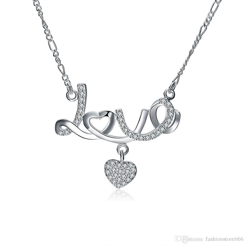 Crystal Jewelry Heart Design Letter Love Pendant Necklace Inlaid Stone  Gemstone Cubic Zirconia Fashion Accessories Silver Plated Chain Within Newest Heart & Love You More Round Pendant Necklaces (View 1 of 25)