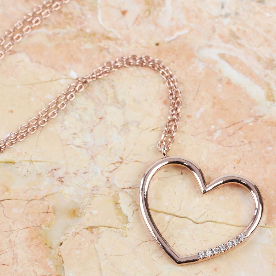Crystal Open Heart Necklace In Rose Gold Within 2019 Open Heart Necklaces (View 3 of 25)
