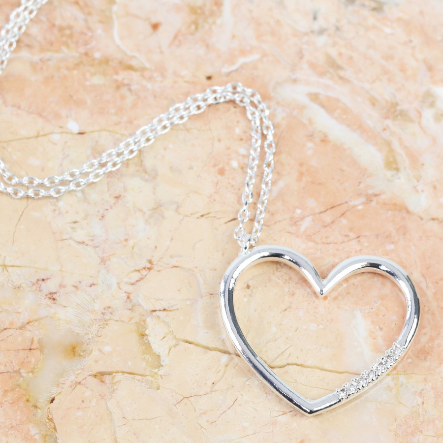 Crystal Open Heart Necklace In Silver Throughout Latest Open Heart Necklaces (View 12 of 25)