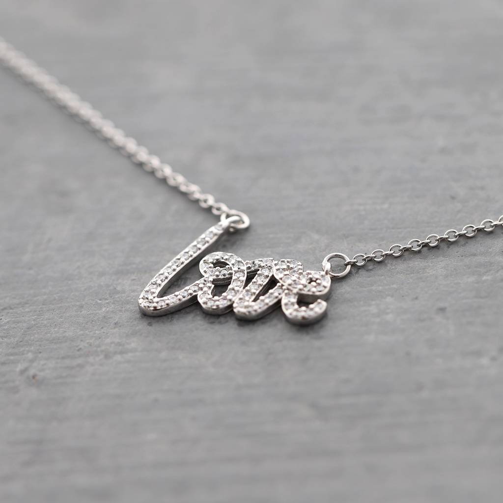 Crystal Paved Love Script Necklace For Most Current Loved Script Necklaces (View 2 of 25)
