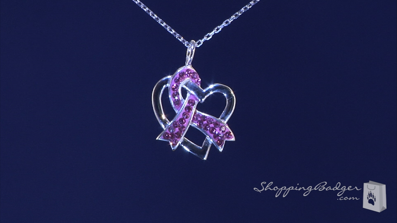 Crystal Pink Ribbon & Open Heart Breast Cancer Awareness Necklace In Regarding Recent Ribbon Open Heart Necklaces (View 7 of 25)