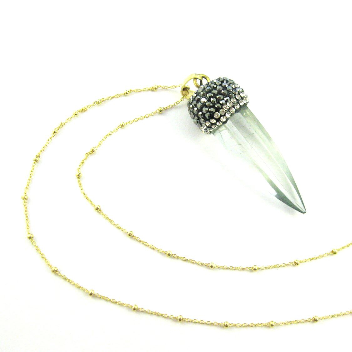 Crystal Spike Pave Necklace Gold Plated Sterling Silver Beaded Necklace Chain Crystal Quartz Pendulum Pendant And Zircon Pave Inside 2020 Beads & Pavé Necklaces (View 17 of 25)