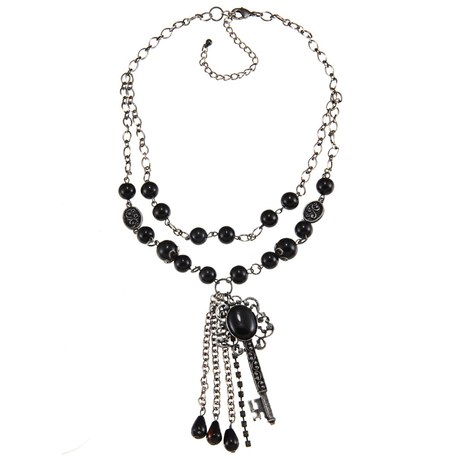 Crystale Silvertone Genuine Black Onyx Bead Key And Tassel Necklace With Regard To Most Popular Ornate Hearts Tassel Necklaces (View 5 of 25)