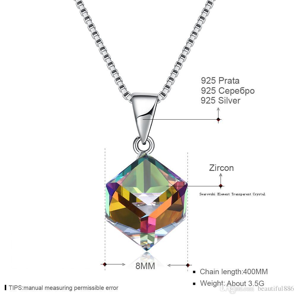 Crystals From Swarovski Element Jewelry Cube Pendant Necklace Simple Trendy  Collars S925 Sterling Silver Fine Jewelry For Women Girls Gift For Best And Newest Letter H Alphabet Locket Element Necklaces (View 6 of 25)