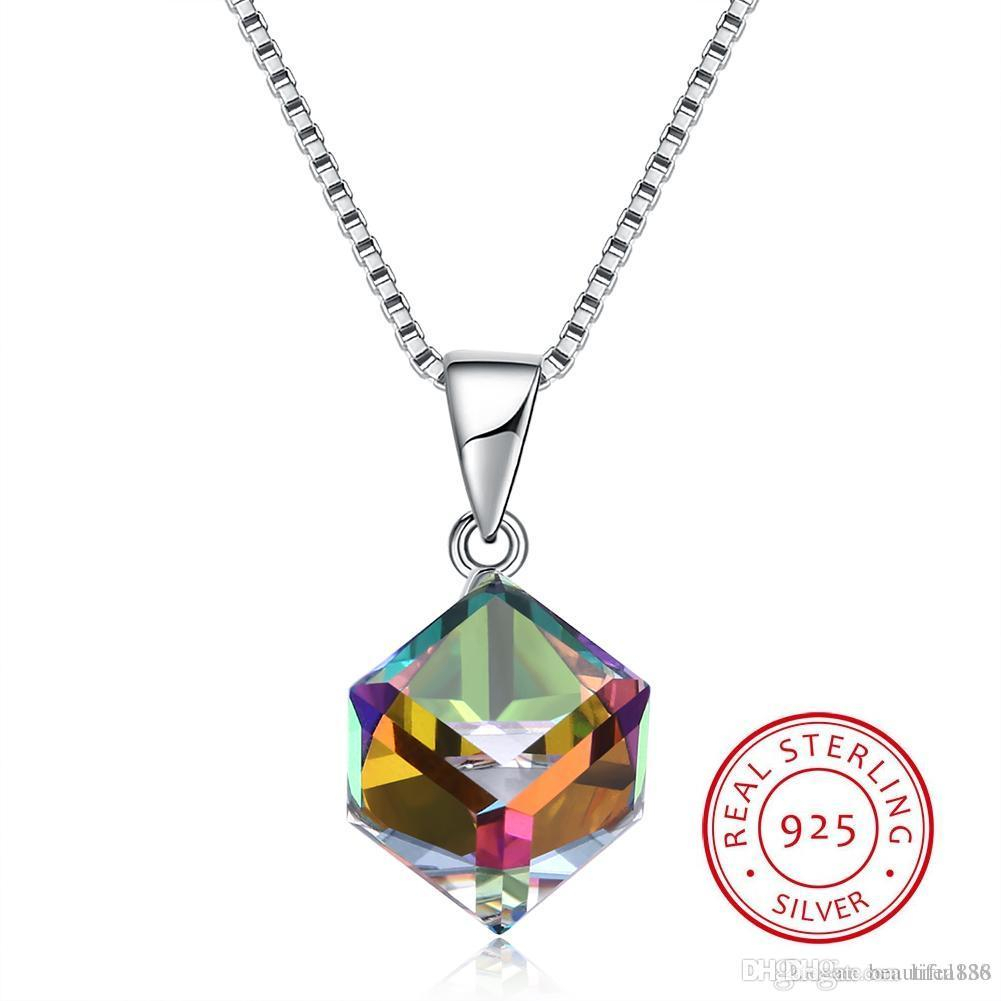 Crystals From Swarovski Element Jewelry Cube Pendant Necklace Simple Trendy  Collars S925 Sterling Silver Fine Jewelry For Women Girls Gift With Regard To Most Recently Released Letter T Alphabet Locket Element Necklaces (Gallery 19 of 25)