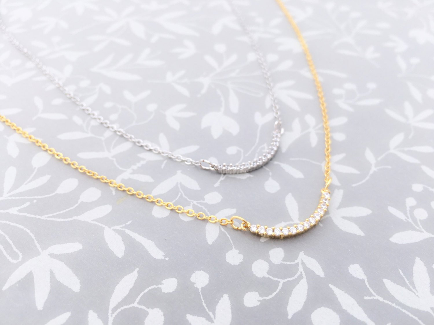 Featured Photo of Sparkling Curved Bar Necklaces