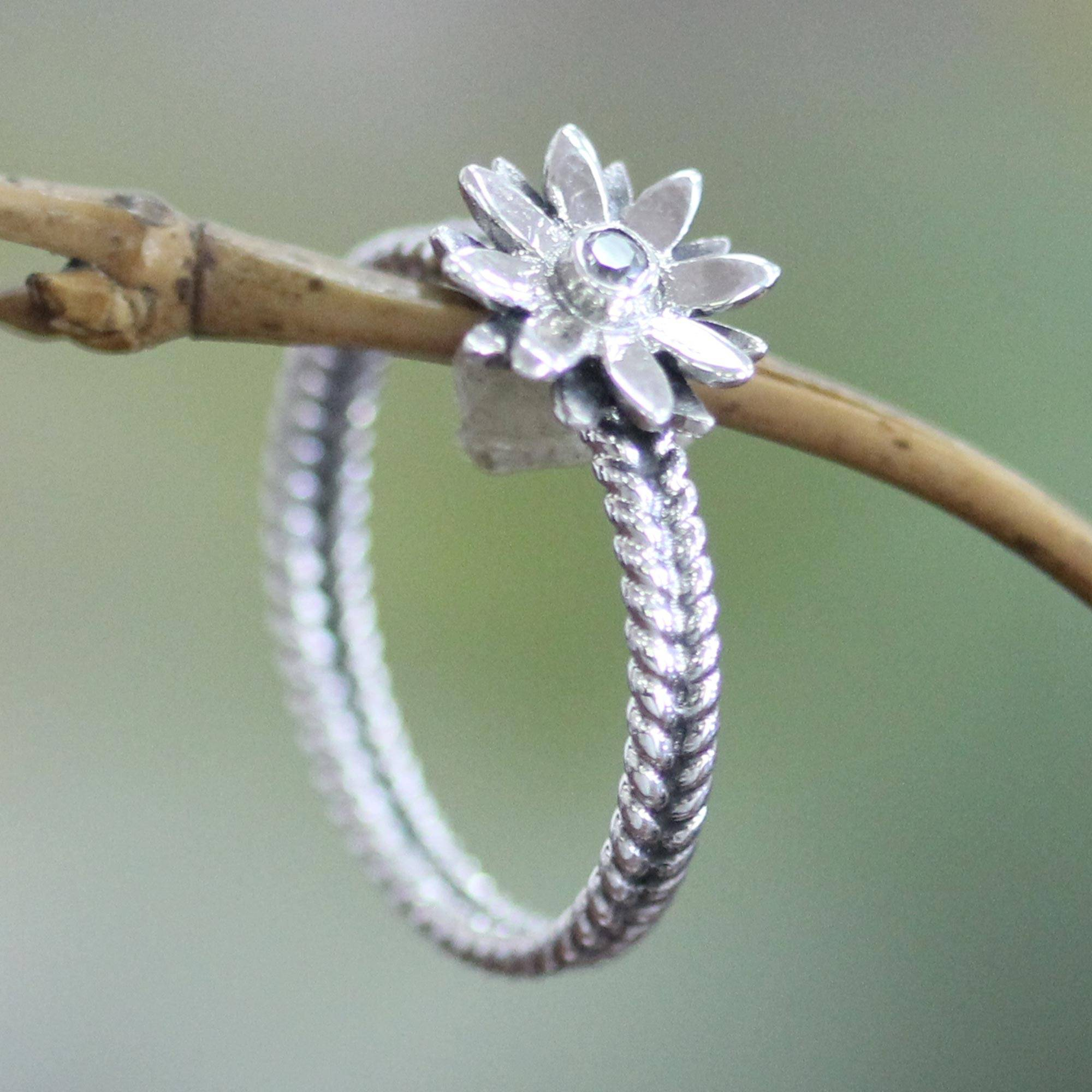 Cubic Zirconia And Sterling Silver Flower Ring, 'april Daisy' With Regard To Most Up To Date Sparkling Daisy Flower Rings (View 14 of 25)