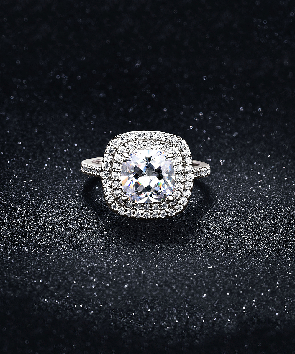Cubic Zirconia & Silvertone Double Row Halo Ring In Most Recent Classic Sparkle Halo Rings (View 19 of 25)