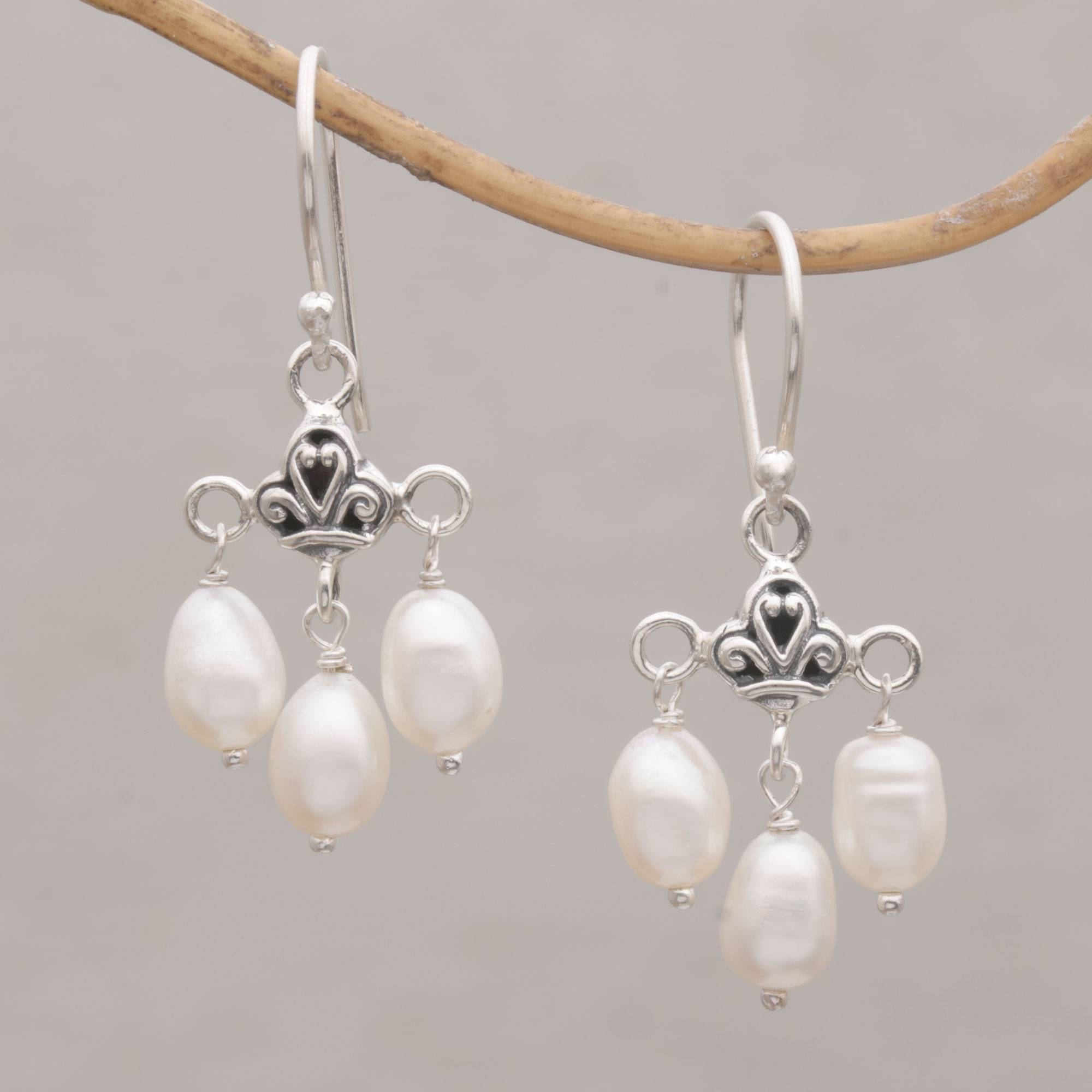 Cultured Freshwater Pearl Sterling Silver Dangle Earrings, 'winter Snowfall' Within Latest Dangling Freshwater Cultured Pearl Rings (View 6 of 25)