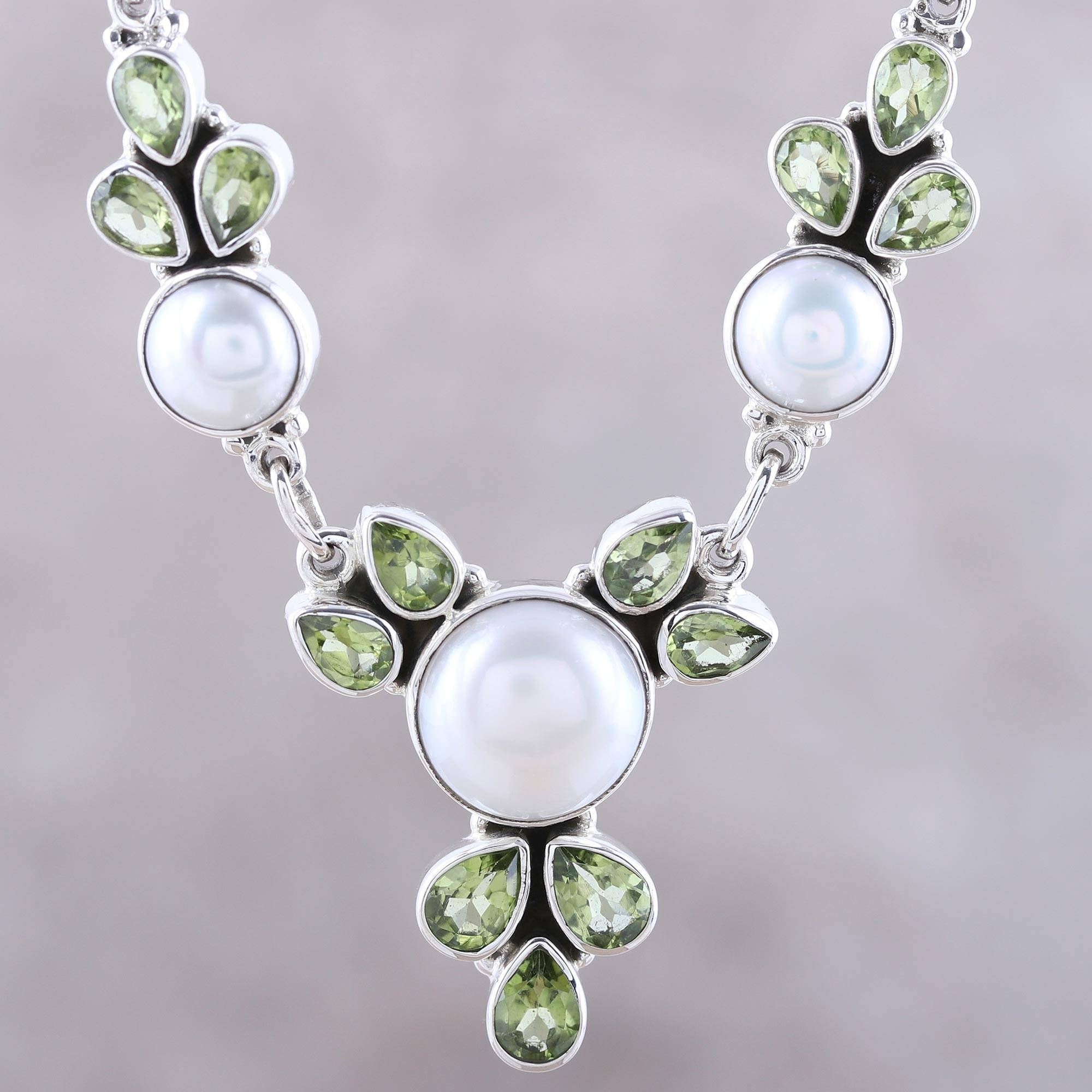 Cultured Pearl And Peridot Sterling Silver Pendant Necklace, 'full Moon Garden' Inside Recent Offset Freshwater Cultured Pearl Circle Necklaces (View 8 of 25)
