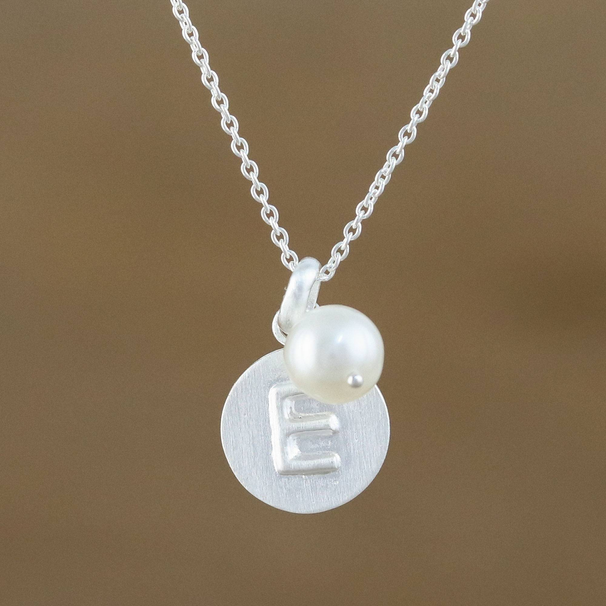 Cultured Pearl Letter E Pendant Necklace From Thailand, 'fabulous E' Pertaining To Most Up To Date Shimmering Knot Pendant Necklaces (Gallery 2 of 25)