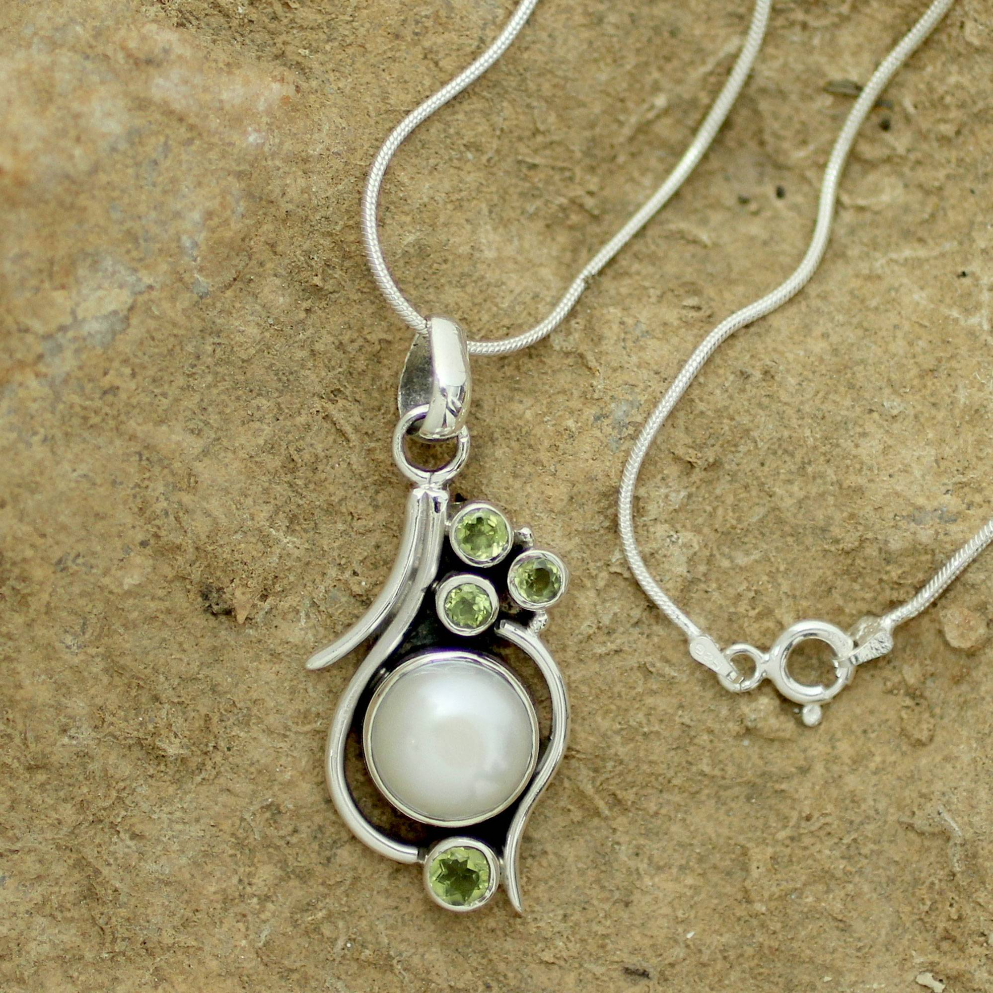 Cultured Pearl Peridot And Sterling Silver Necklace , 'sweet Dreams' Within Most Up To Date Offset Freshwater Cultured Pearl Circle Necklaces (View 23 of 25)