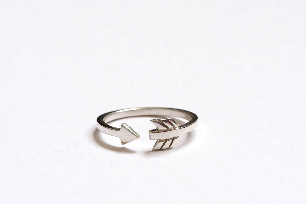Cupid Arrow Ring, Silver Arrow Ring, Wrap Around Arrow Ring, Handmade Sterling Silver, Arrow Stacking Ring, Throughout Most Recent Wrap Around Arrow Rings (View 7 of 25)