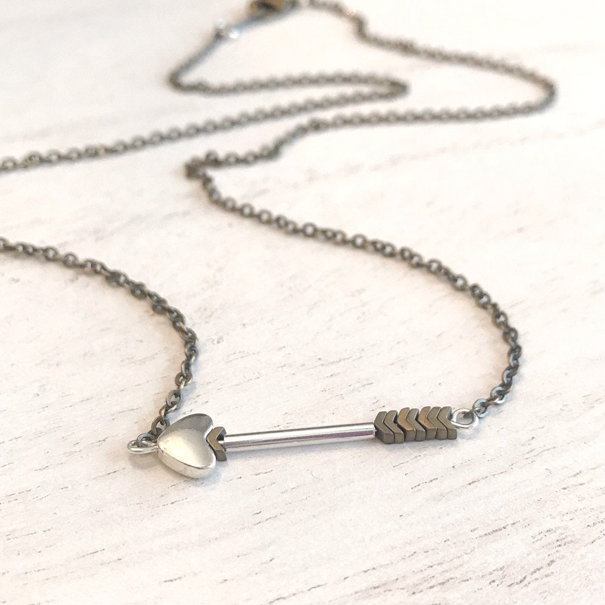 Cupid's Arrow Necklace, Arrow Necklace, Gift For Her Throughout 2019 Arrow Of Cupid Dangle Charm Necklaces (View 23 of 25)