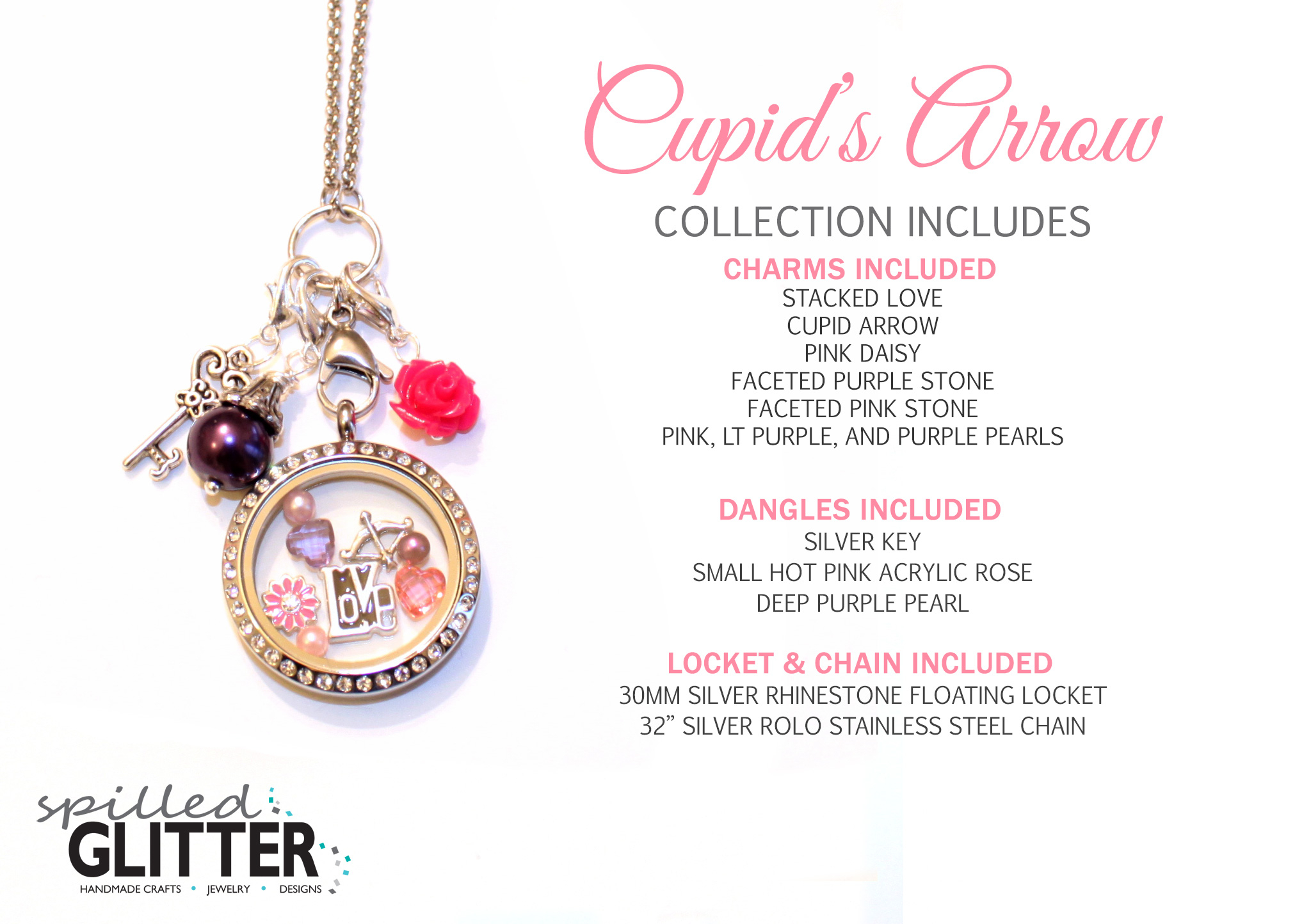 Cupid's Arrow Valentine's Day Floating Locket And Charm Collection Pertaining To Most Up To Date Arrow Of Cupid Dangle Charm Necklaces (View 9 of 25)