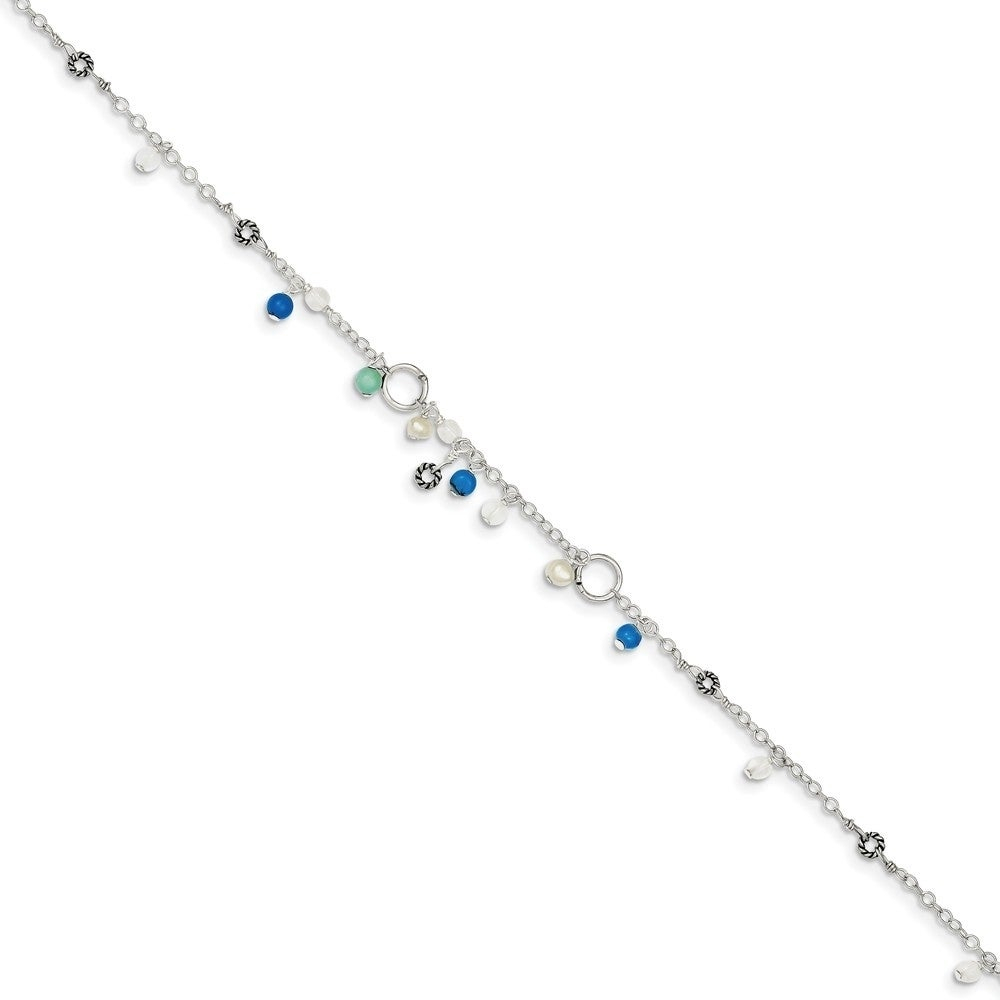 Curata Women's 925 Simulated Turquoise Bead Freshwater Cultured Pearl  Anklet  9 Inch – Spring Ring Within 2017 Bead & Freshwater Cultured Pearl Open Rings (View 10 of 25)