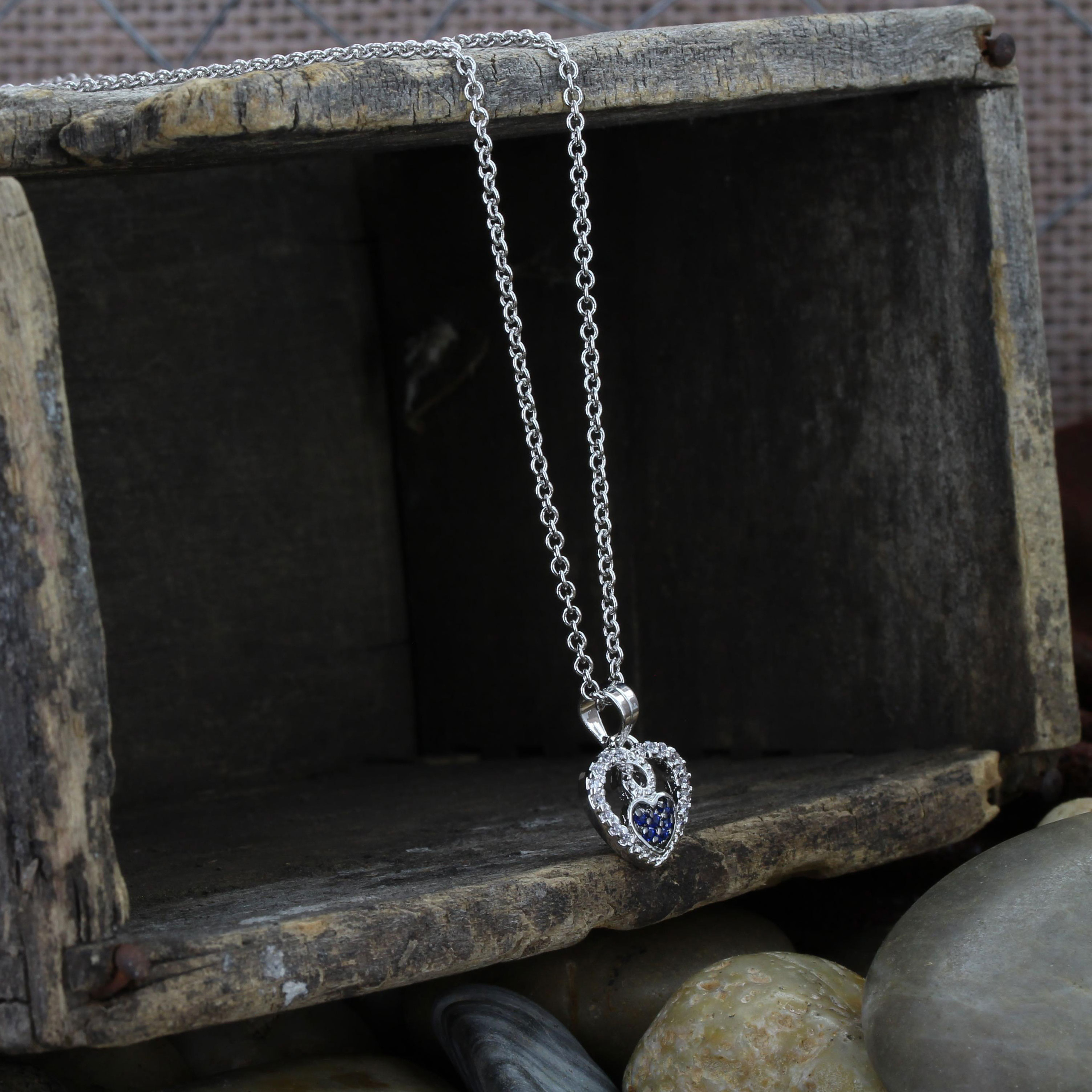 Curlicued Cerulean Heart Necklace Within 2019 Sparkling Arrow Necklaces (Gallery 21 of 25)