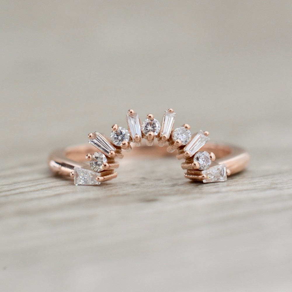 Curved Alternating Baguette & Round Diamond Band In Rose For Most Recently Released Baguette And Round Diamond Alternating Anniversary Bands In White Gold (View 15 of 25)