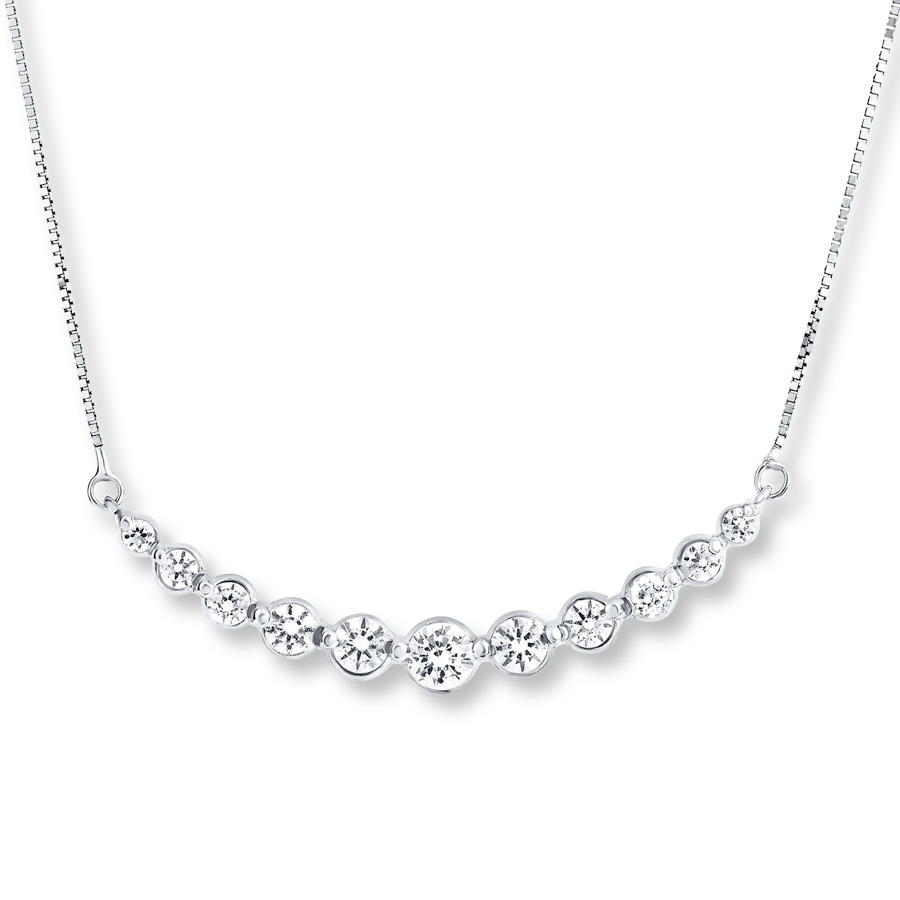 Curved Bar Necklace 1 Ct Tw Diamonds 14K White Gold For Latest Sparkling Curved Bar Necklaces (View 25 of 25)