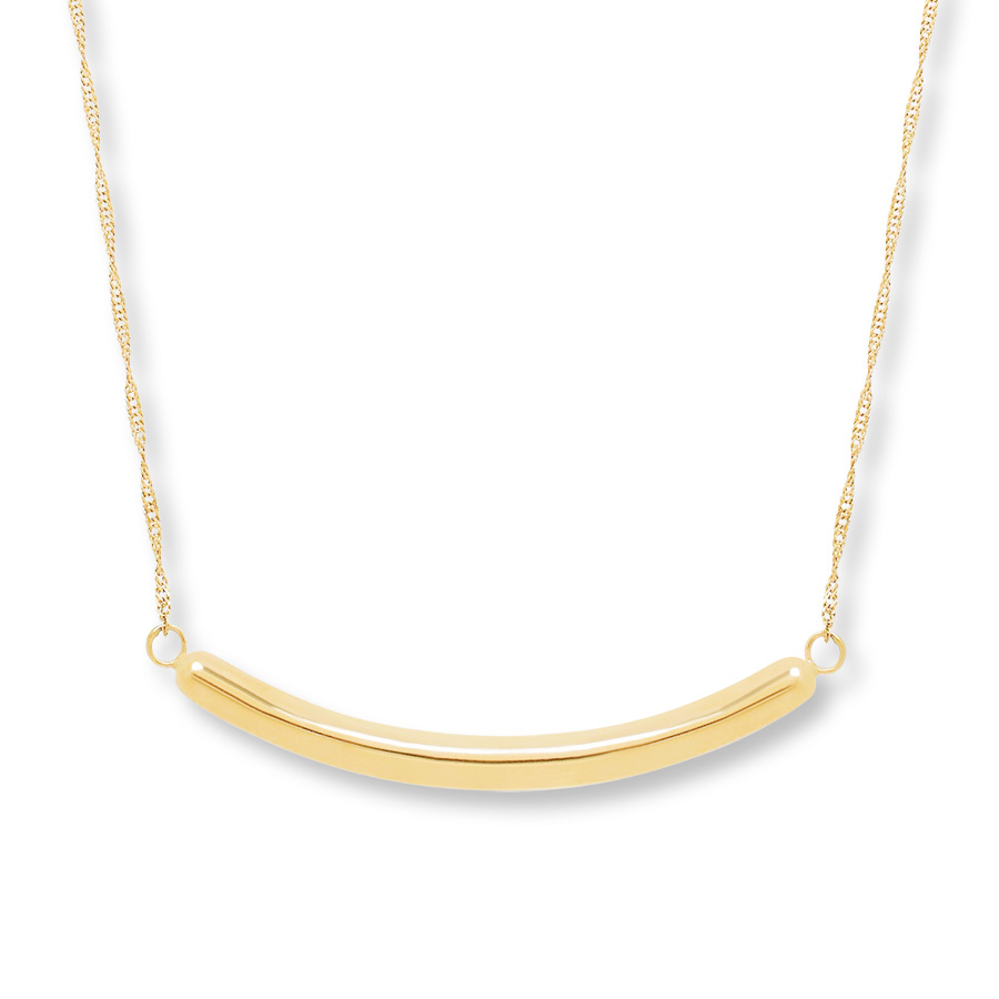 Curved Bar Necklace 10k Yellow Gold Inside 2020 Sparkling Curved Bar Necklaces (View 18 of 25)