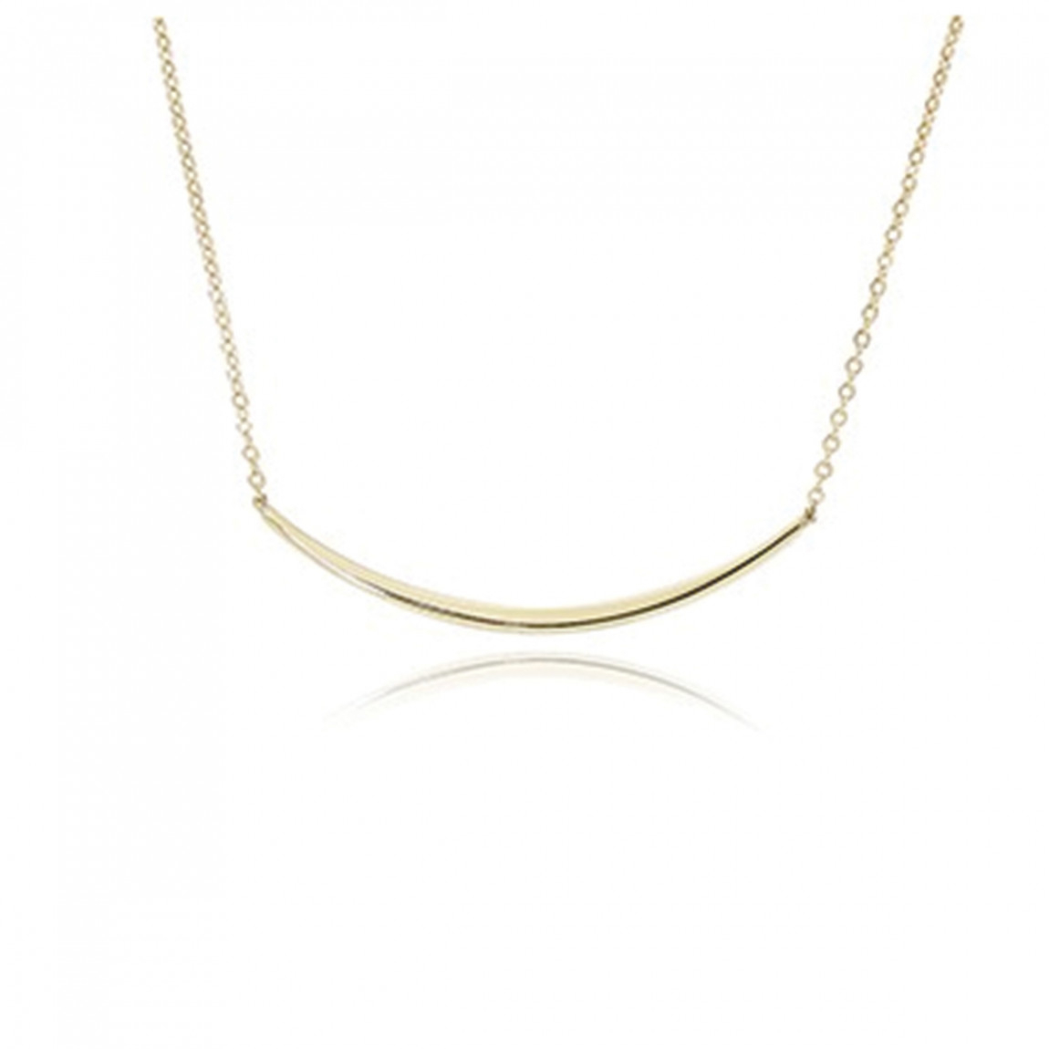 Curved Bar Necklace, 14k Yellow Gold Regarding Best And Newest Sparkling Curved Bar Necklaces (View 6 of 25)