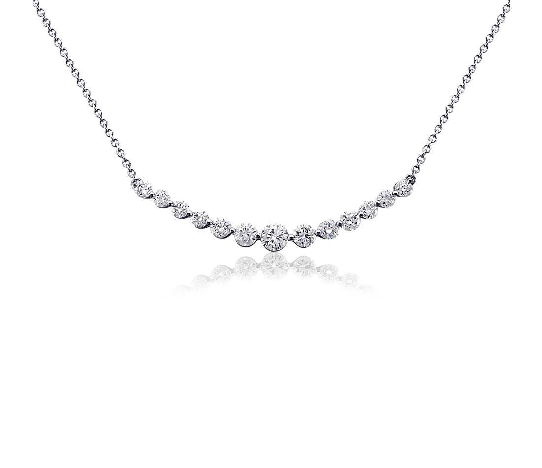 Curved Diamond Bar Necklace In 18k White Gold (1 Ct. Tw (View 7 of 25)