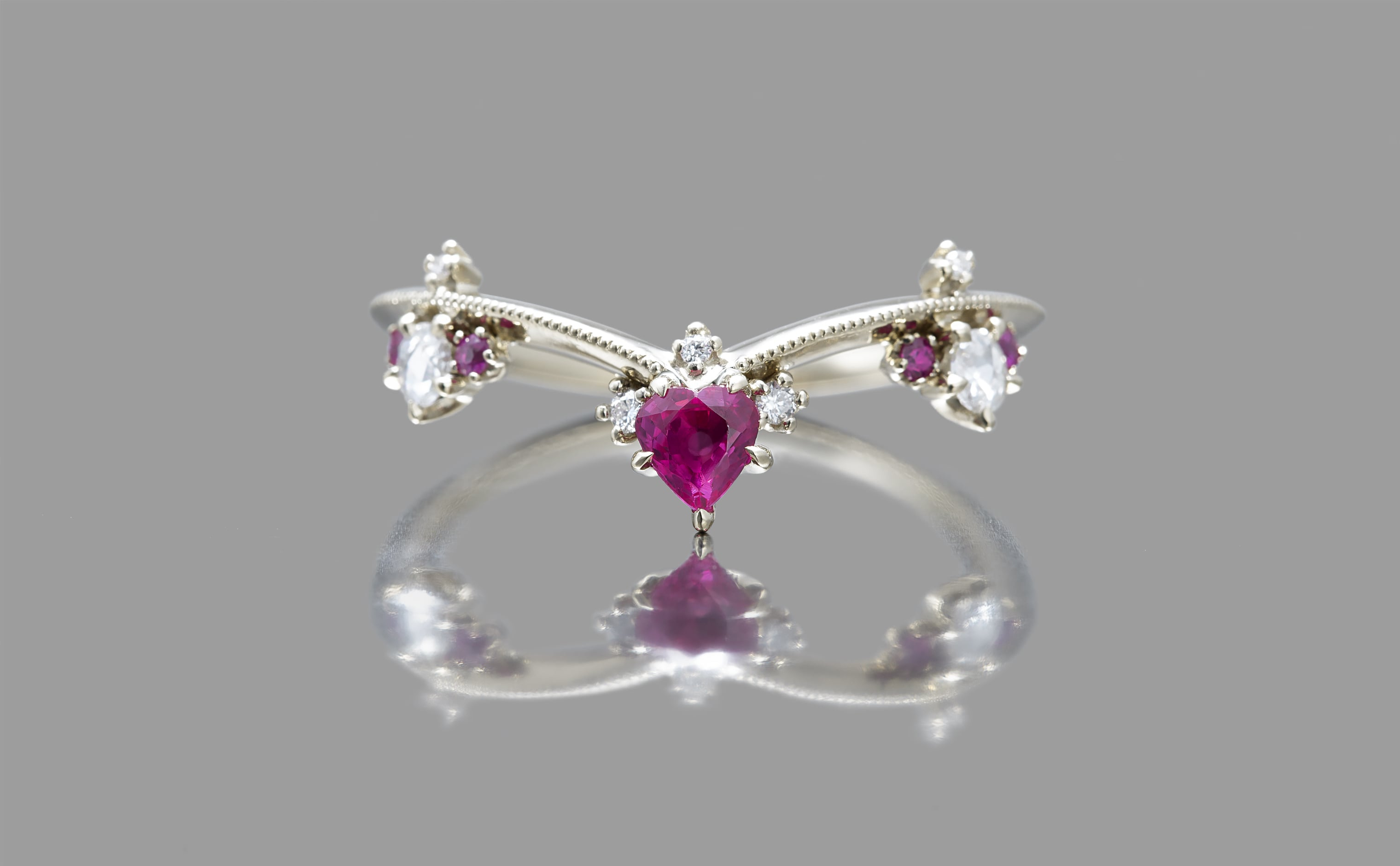 Curved Ruby Crown Ring With Most Up To Date Pink Sparkling Crown Rings (View 12 of 25)