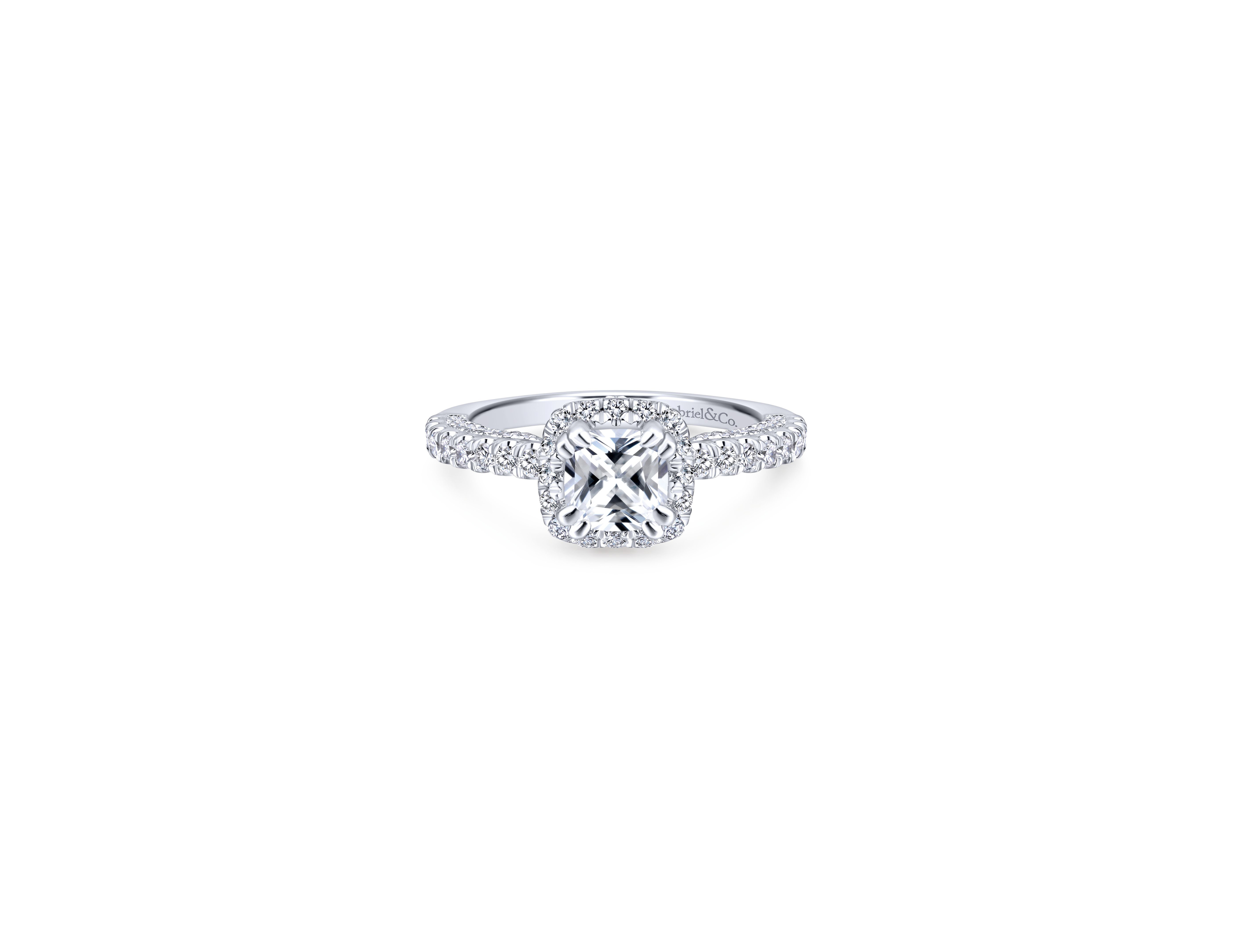 Cushion Cut Diamond Engagement Rings   Martha Stewart Weddings Within Most Recent Champagne And White Diamond Quilted Anniversary Rings In White Gold (Gallery 25 of 25)