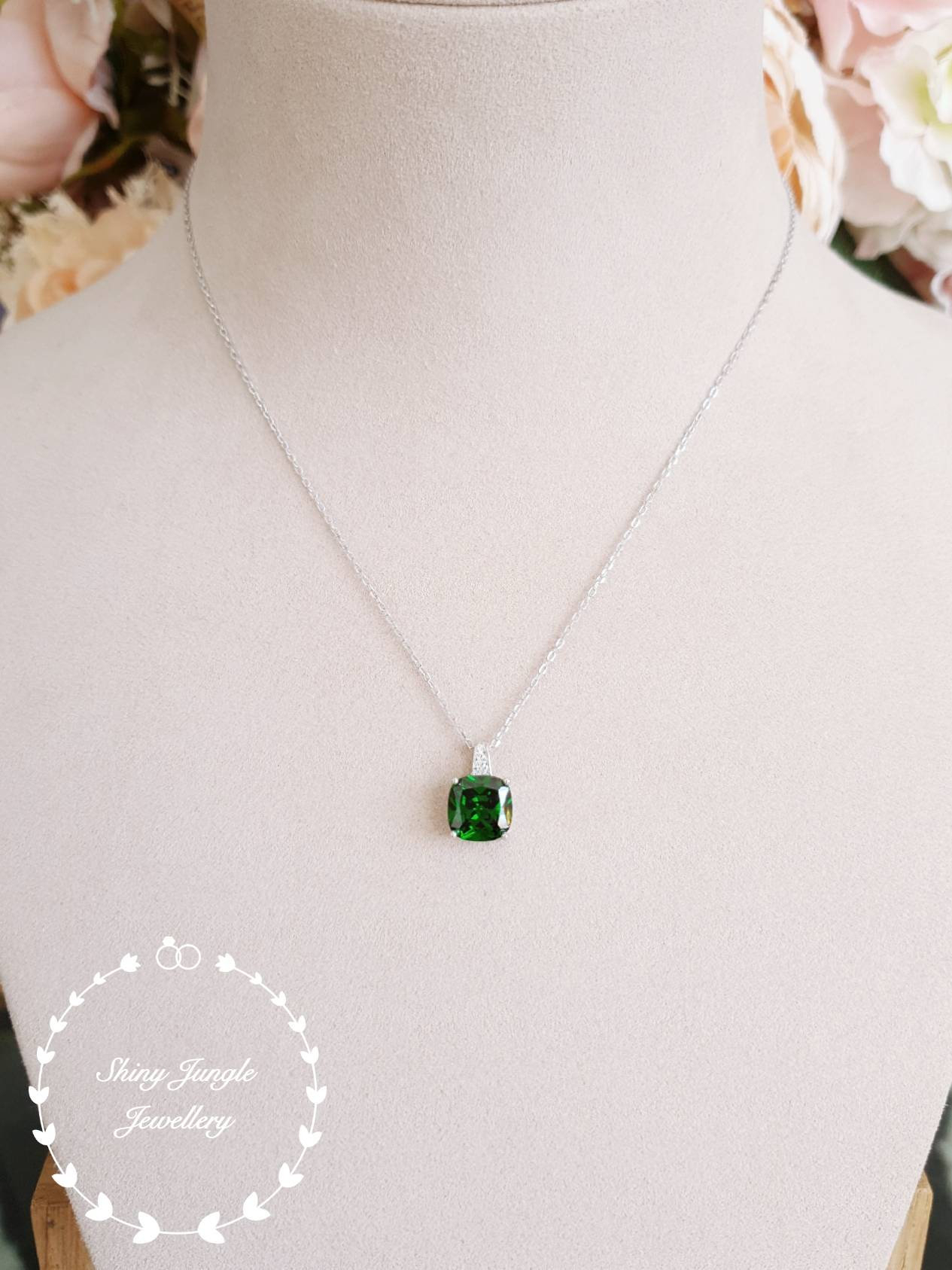 Cushion Emerald Pendant, 3ct Vivid Green Lab Emerald Necklace With Intended For 2019 Royal Green May Birthstone Locket Element Necklaces (View 8 of 25)