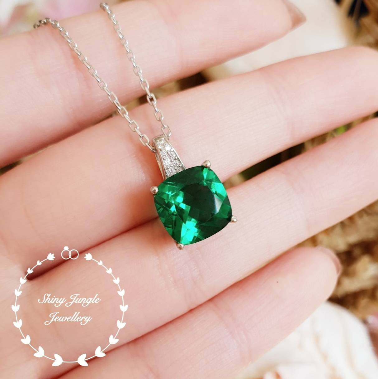 Cushion Emerald Pendant, 3Ct Vivid Green Lab Emerald Necklace With With Regard To 2020 Royal Green Crystal May Droplet Pendant Necklaces (View 5 of 25)