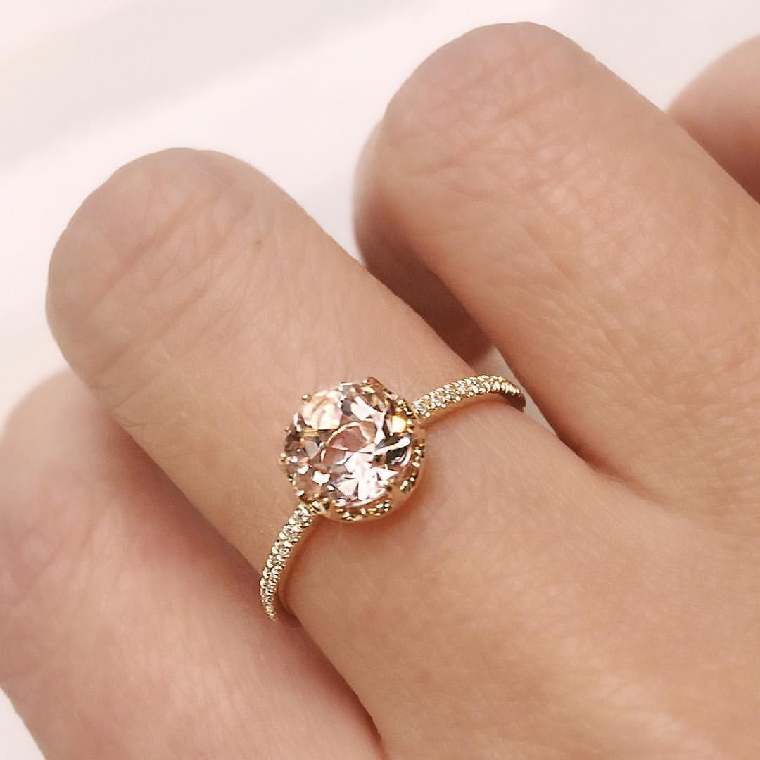 Custom Desert Flower Ring Set With Natural Peachy Pink Morganite Within Current Pavé Flower Rings (Gallery 8 of 25)
