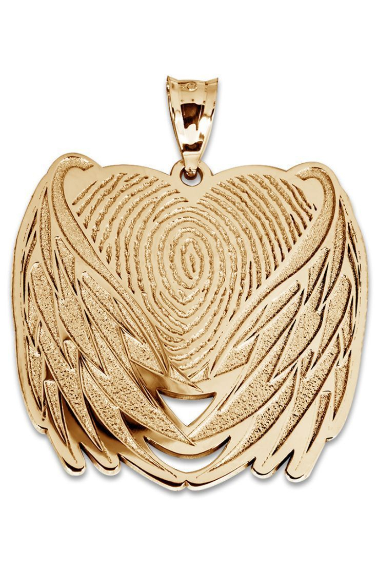 Custom Fingerprint Angel Wing Charm Or Pendant. Ideal Way To Carry A Pertaining To Best And Newest Pavé Angel Wing Locket Element Necklaces (Gallery 21 of 25)