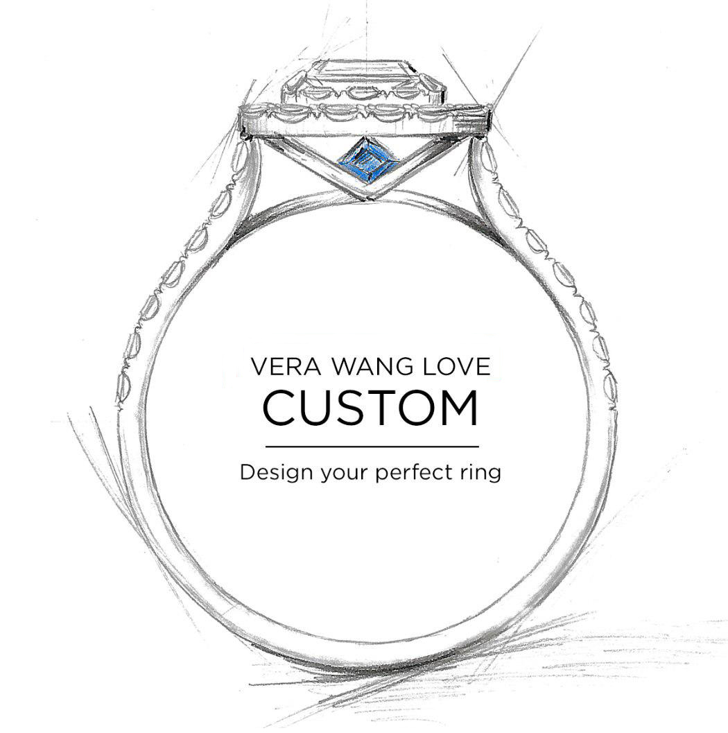 Customize Your Vera Wang Love Engagement Ring|zales In Latest Diamond Three Row Collar Anniversary Bands In White Gold (View 18 of 25)