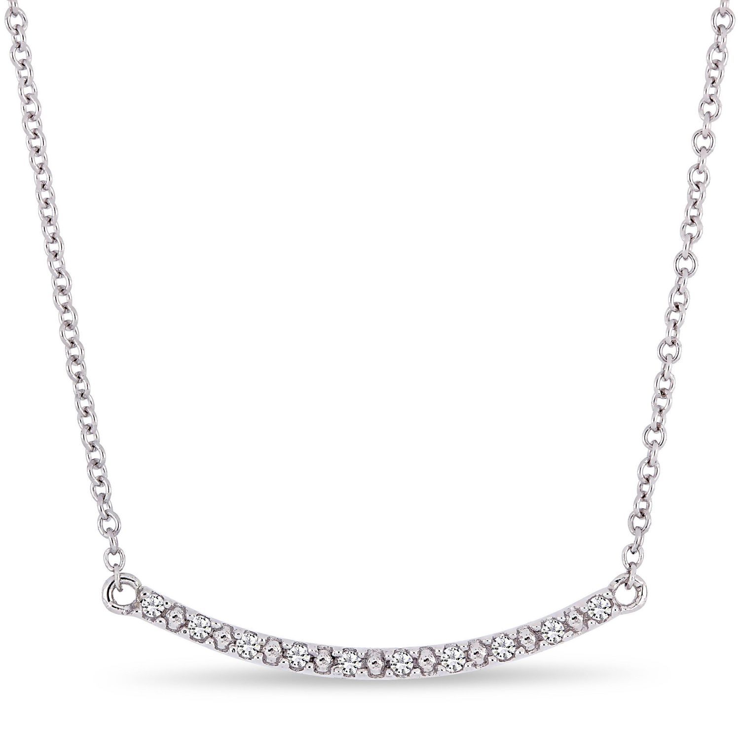 Cutie Pie Diamond Accent 10k White Gold Curved Bar Necklace Regarding Most Recent Sparkling Curved Bar Necklaces (View 9 of 25)